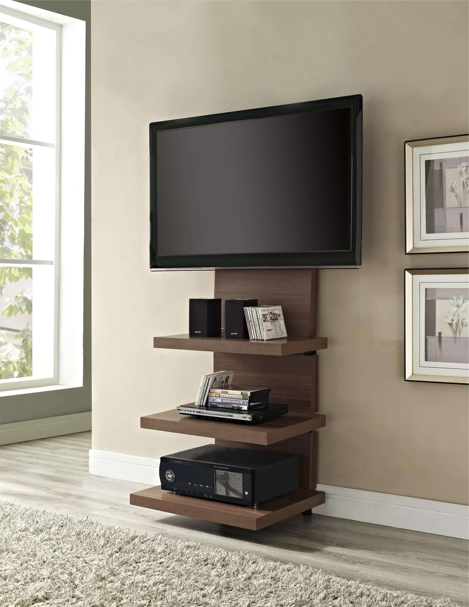 Tall Wood Wall Mounted Tv Stand With Shelves And Mount For Flat In Wall Mounted Tv Stands For Flat Screens (View 6 of 15)