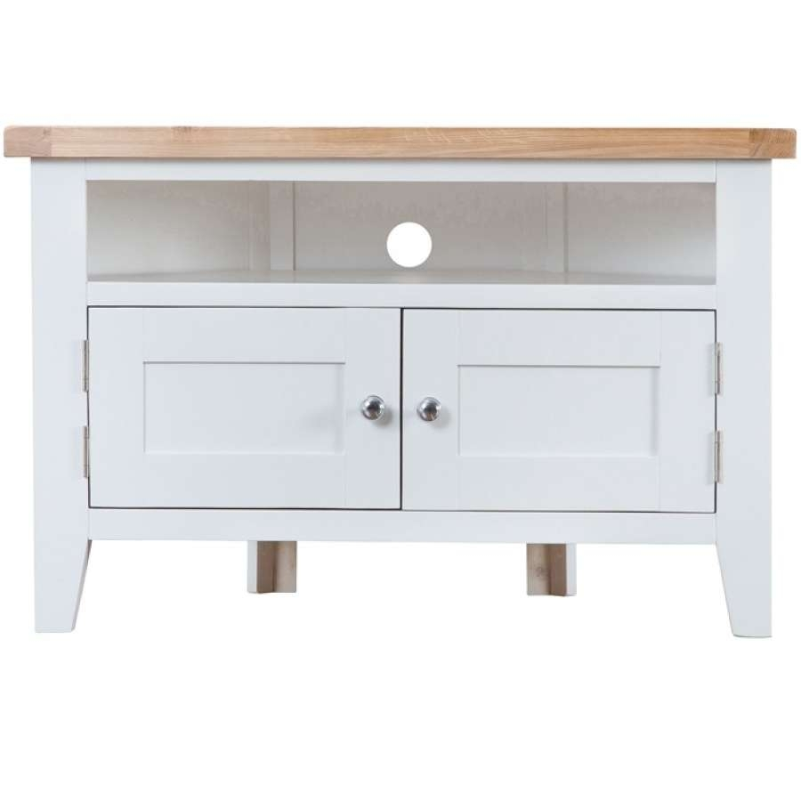 Taunton White Corner Tv Unit | Charlies Direct With Regard To White Corner Tv Cabinets (View 9 of 20)