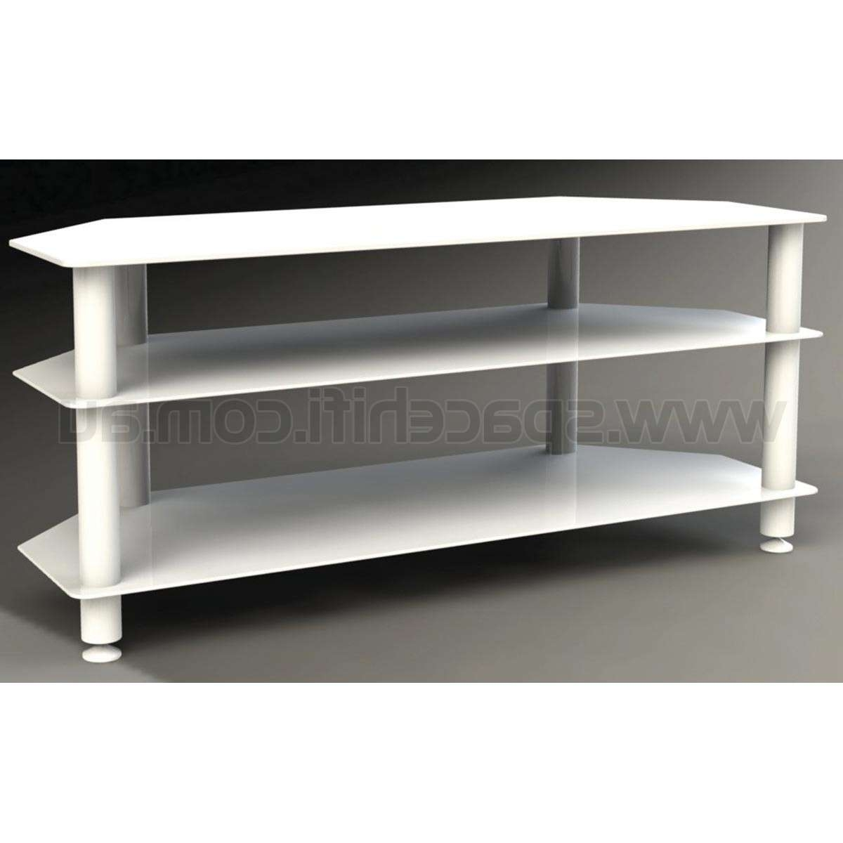 Tauris Ace 1200Mm 3 Shelf White Glass Tv Unit Stand | Space Hi Fi Within White Glass Tv Stands (View 9 of 15)