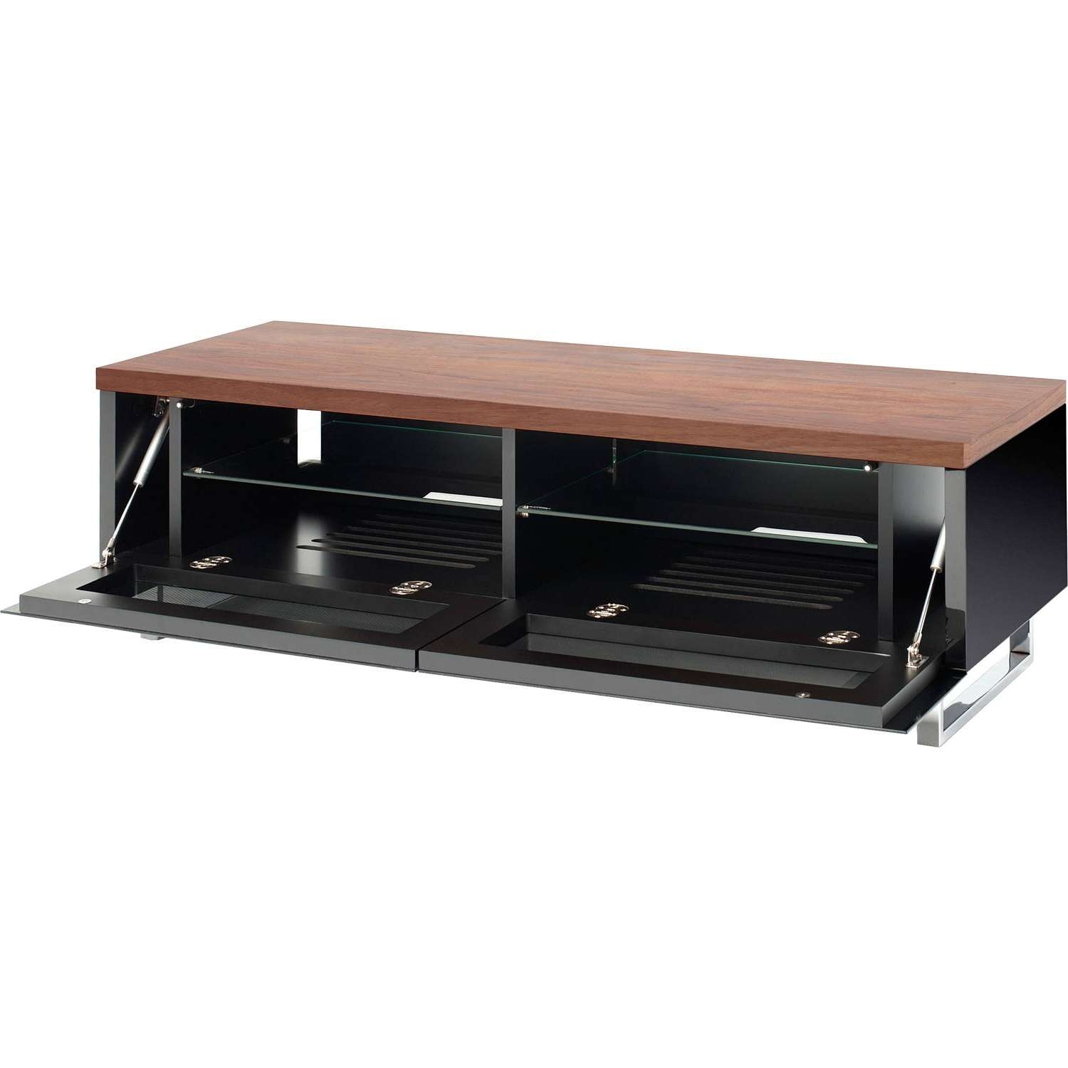 Techlink Panorama Pm120W Piano Black & Walnut Tv Stand For Up To Within Techlink Panorama Walnut Tv Stands (View 13 of 15)