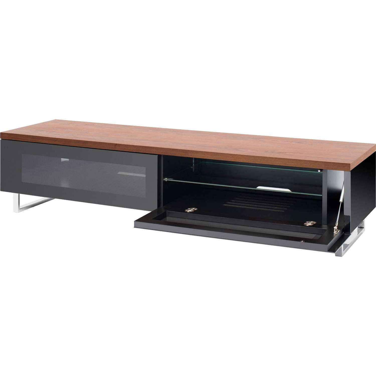 Techlink Panorama Pm160w Piano Black & Walunt Tv Stand For Up To Inside Techlink Pm160w Panorama Tv Stands (View 3 of 15)
