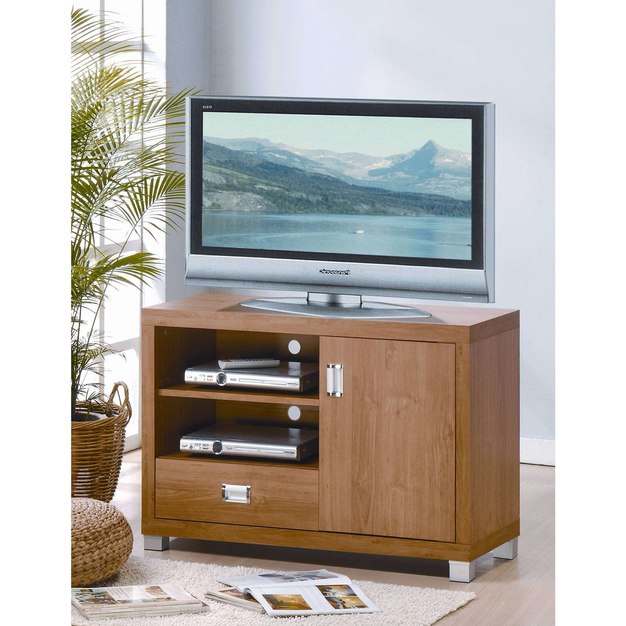 Techni Mobili Tv Cabinet, Maple – Walmart Within Maple Wood Tv Stands (View 7 of 15)