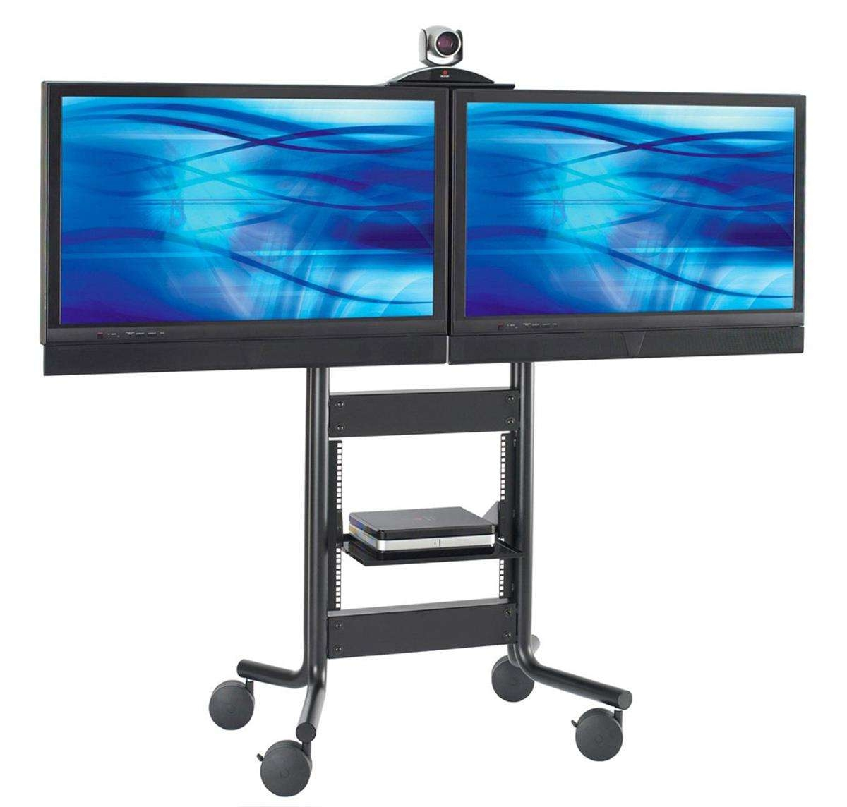 These Dual Tv Stands On Wheels Have A Moveable Camera Shelf! These Inside Dual Tv Stands (View 3 of 15)