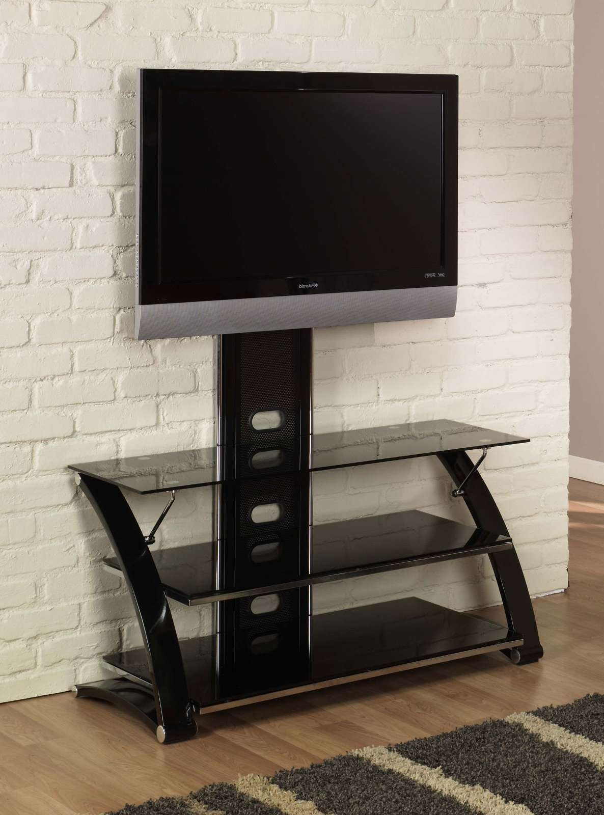 Three Tiers Glass Flat Screen Tv Stand With Mount And Cool Frame Regarding Wood And Glass Tv Stands For Flat Screens (View 3 of 20)