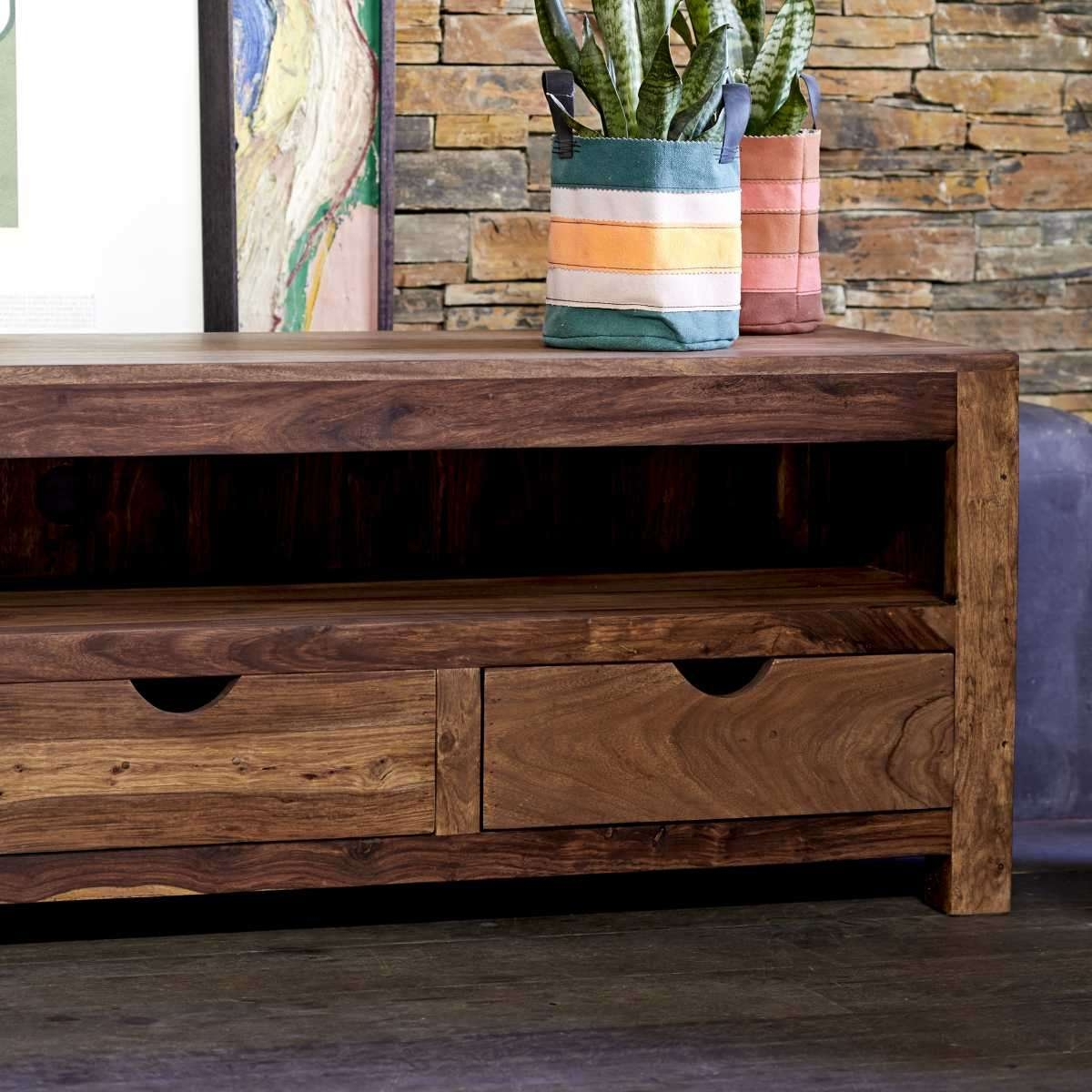 Tikamoon Small Tv Cabinet Entertainment Unit Tv Stand Sheesham For Sheesham Wood Tv Stands (View 11 of 15)