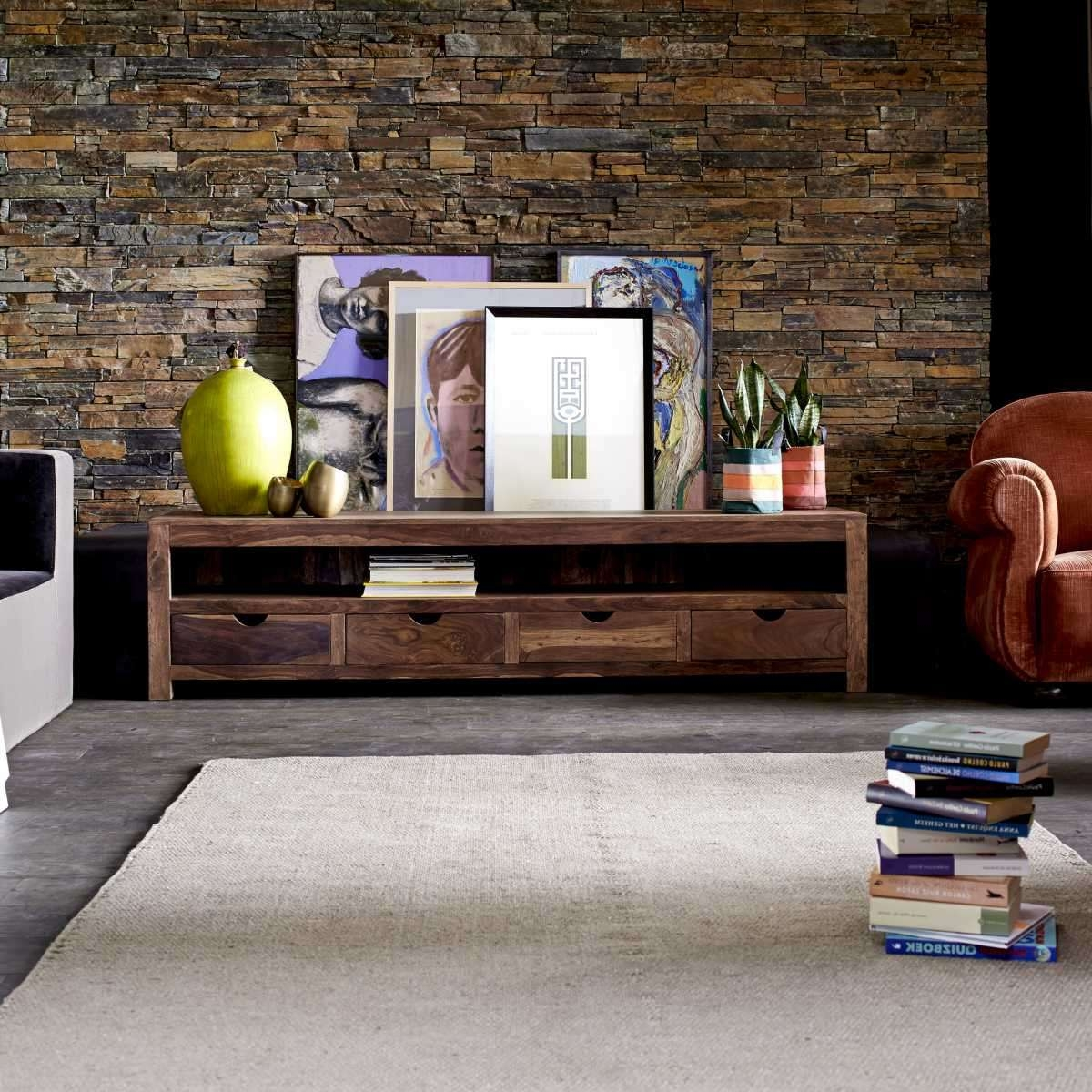 Tikamoon Small Tv Cabinet Entertainment Unit Tv Stand Sheesham With Sheesham Tv Stands (View 15 of 15)