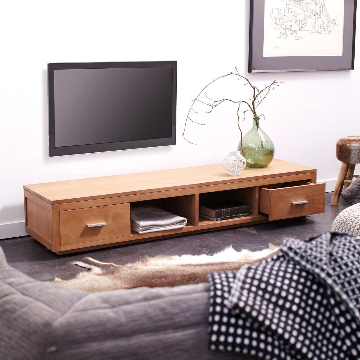 Tikamoon Solid Oak Tv Cabinet Entertainment Unit Tv Stand 2 Pertaining To Modern Oak Tv Stands (View 13 of 15)