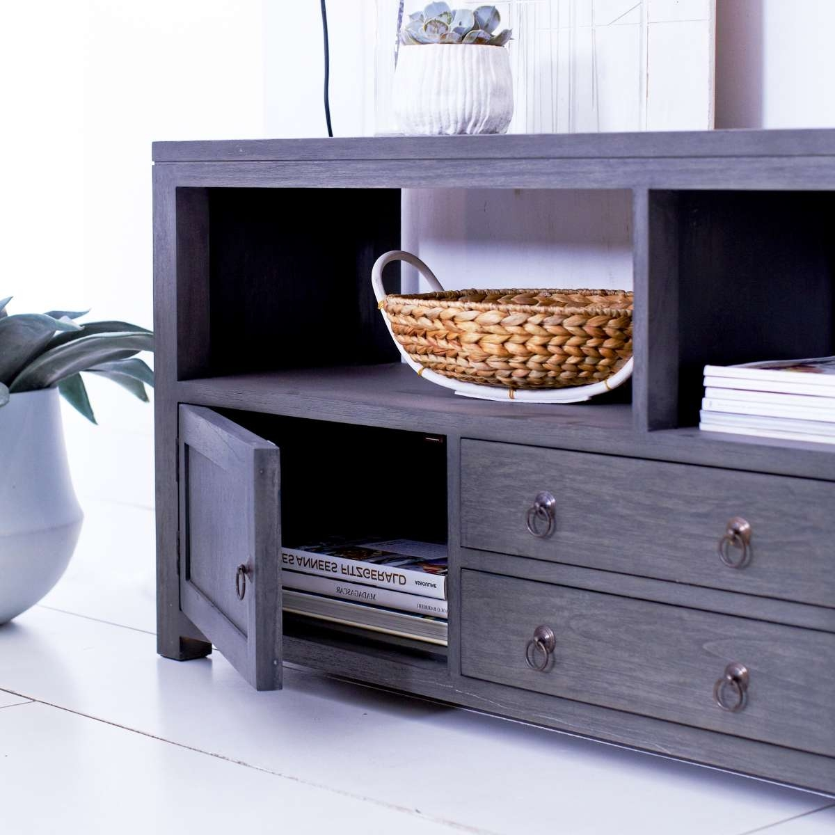 Tikamoon Solid Painted Grey Mindi Tv Cabinet Entertainment Unit Tv Intended For Grey Wood Tv Stands (View 6 of 15)