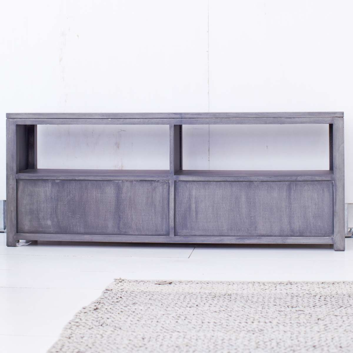 Tikamoon Solid Painted Grey Mindi Tv Cabinet Entertainment Unit Tv Pertaining To Grey Wood Tv Stands (View 8 of 15)