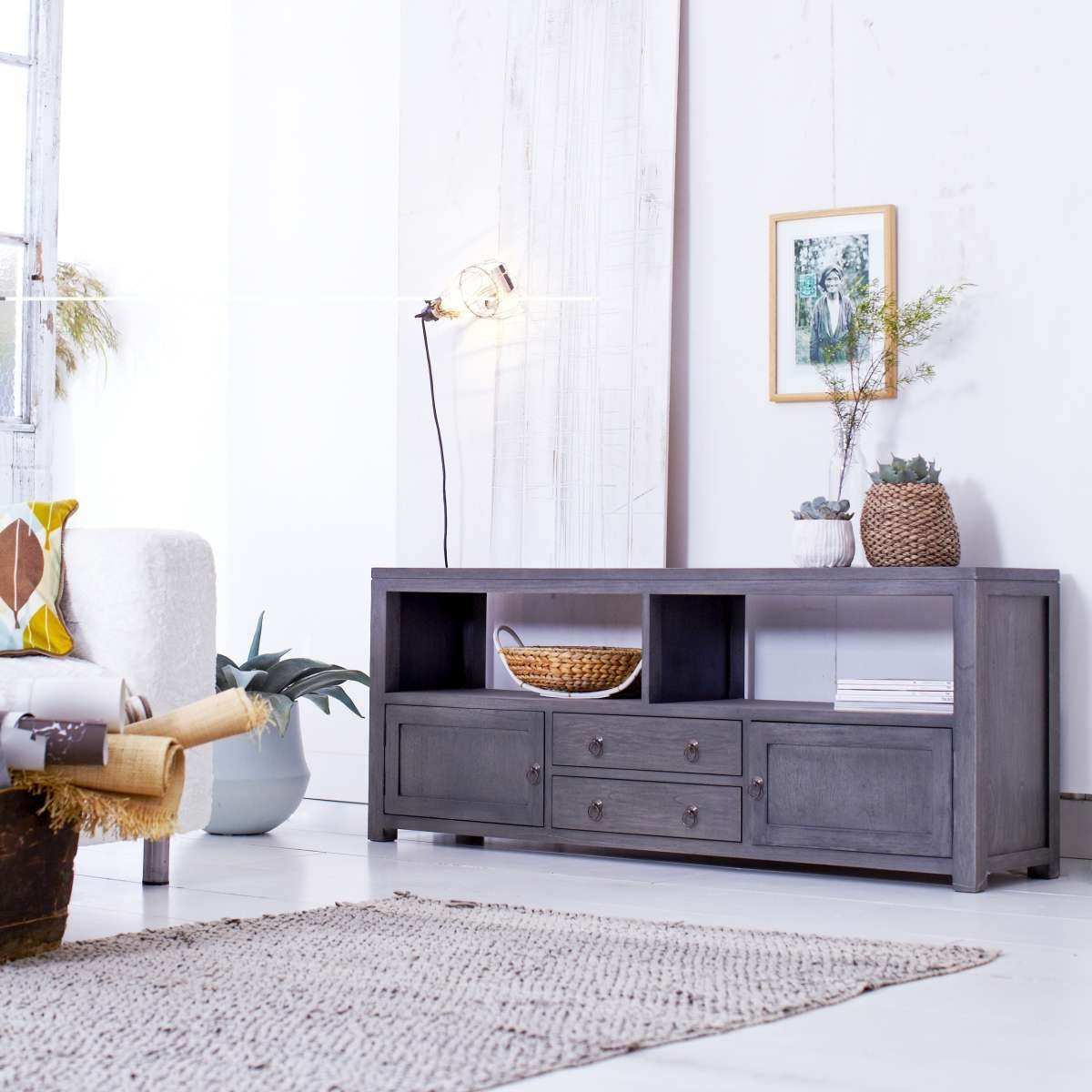 Tikamoon Solid Painted Grey Mindi Tv Cabinet Entertainment Unit Tv Pertaining To Grey Wood Tv Stands (View 7 of 15)