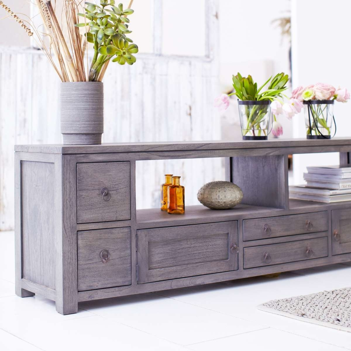 Tikamoon Solid Painted Grey Mindi Wood Tv Cabinet Entertainment Intended For Grey Wooden Tv Stands (View 9 of 15)