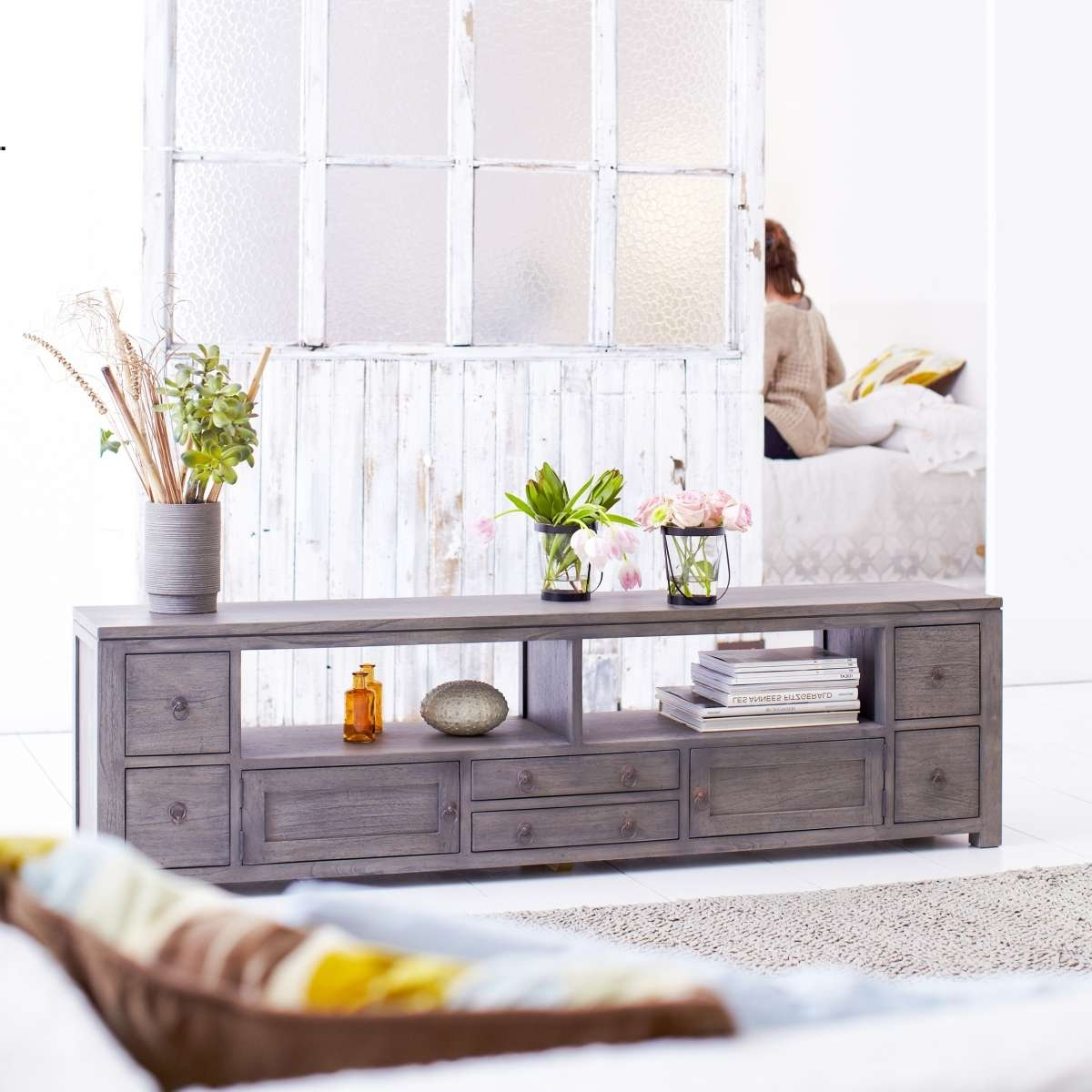 Tikamoon Solid Painted Grey Mindi Wood Tv Cabinet Entertainment With Regard To Grey Wood Tv Stands (View 9 of 15)
