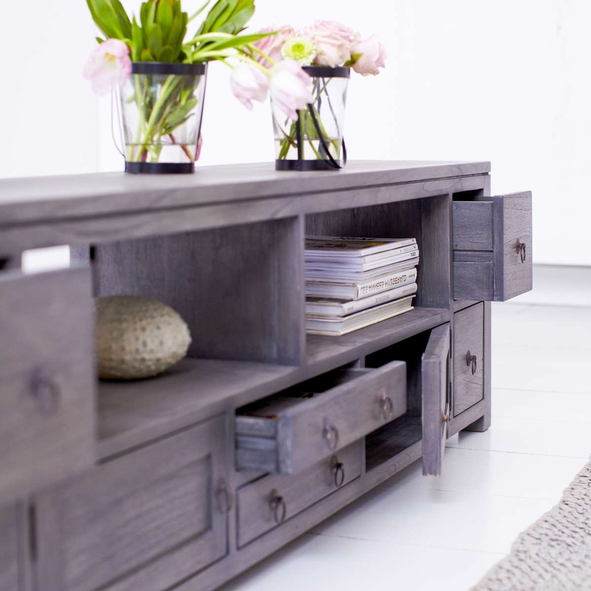 Tikamoon Solid Painted Grey Mindi Wood Tv Cabinet Entertainment With Regard To Grey Wooden Tv Stands (View 10 of 15)