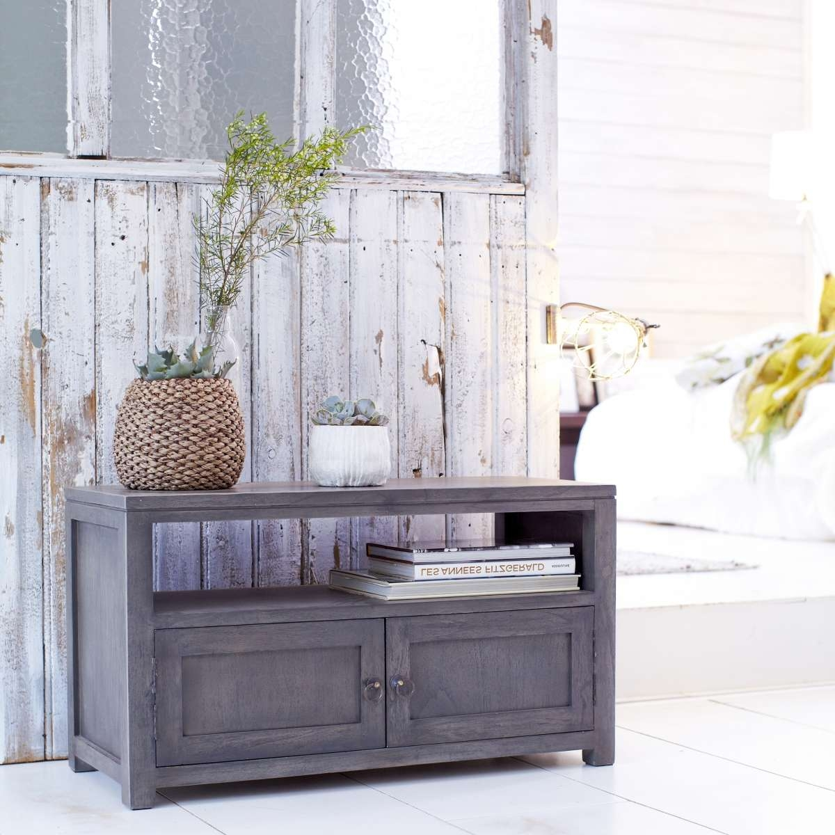 Tikamoon Solid Painted Grey Small Wood Mindi Tv Stand Tv Cabinet Inside Grey Wood Tv Stands (View 8 of 15)