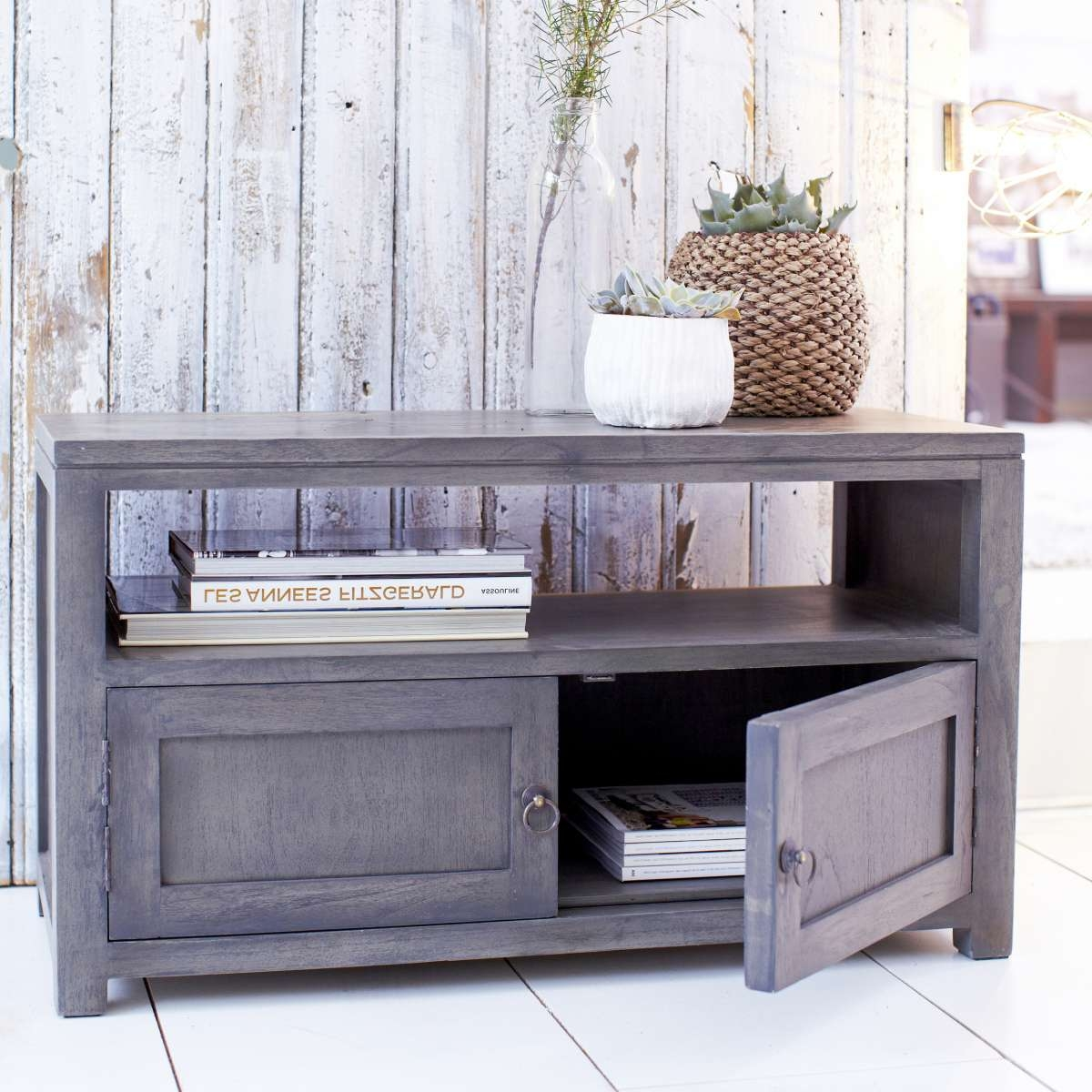 Tikamoon Solid Painted Grey Small Wood Mindi Tv Stand Tv Cabinet Regarding Grey Wooden Tv Stands (View 12 of 15)