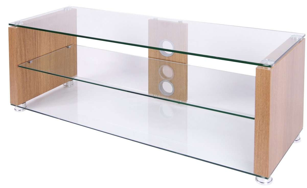 Tnw Elegance 1000 Oak Tv Stands Within Clear Glass Tv Stands (View 14 of 15)