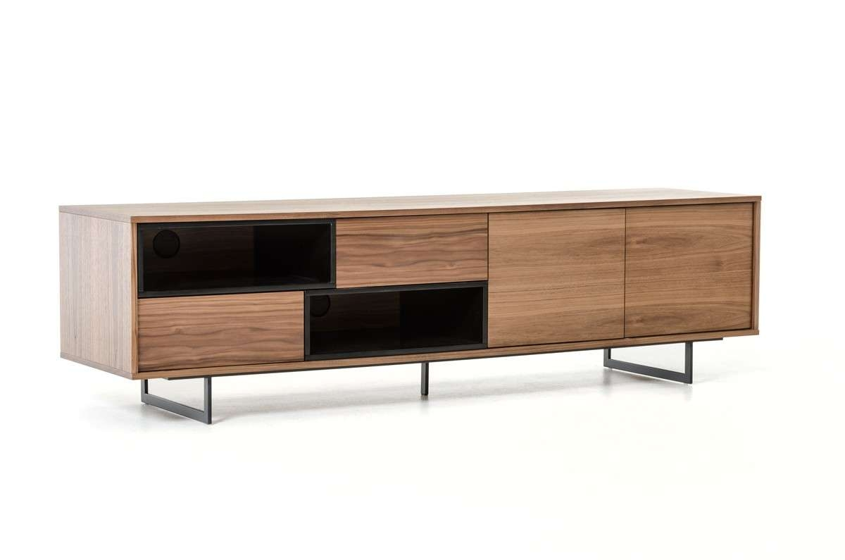 Torlonia Modern Walnut & Black Tv Stand For Modern Walnut Tv Stands (View 7 of 15)