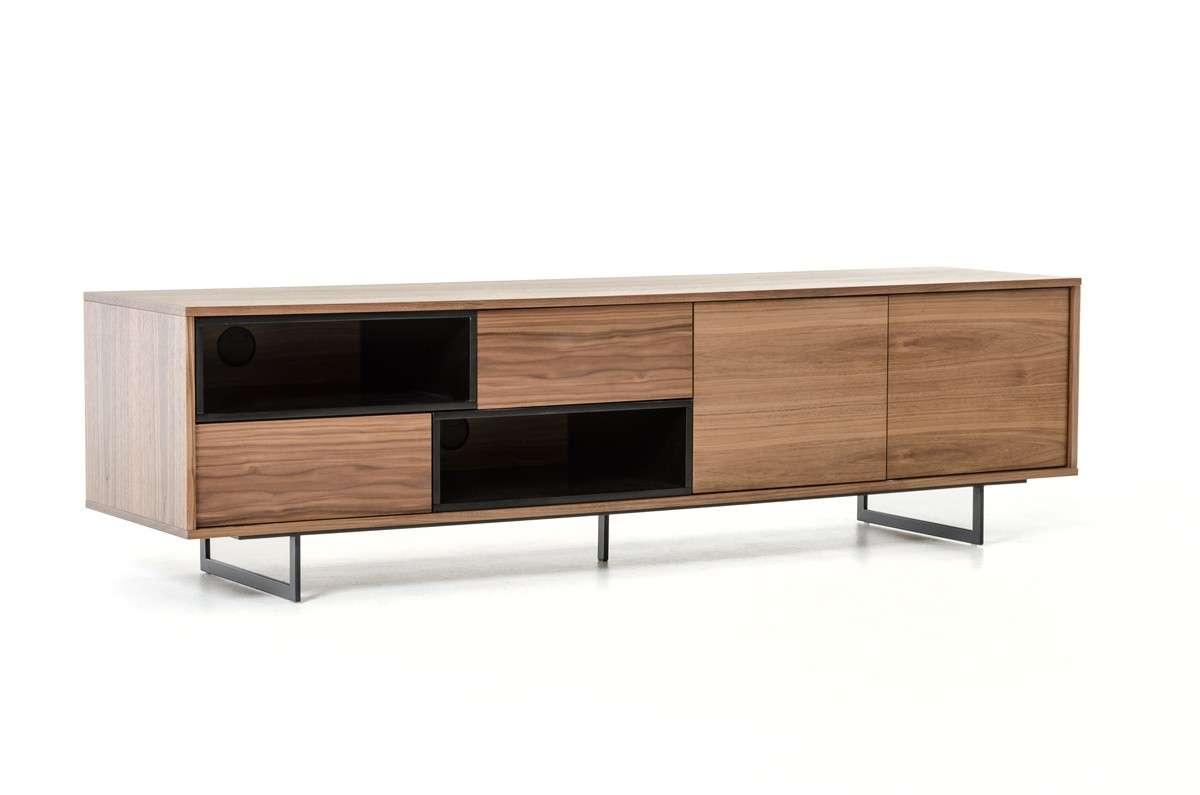 Torlonia Modern Walnut & Black Tv Stand Inside Modern Walnut Tv Stands (View 10 of 15)