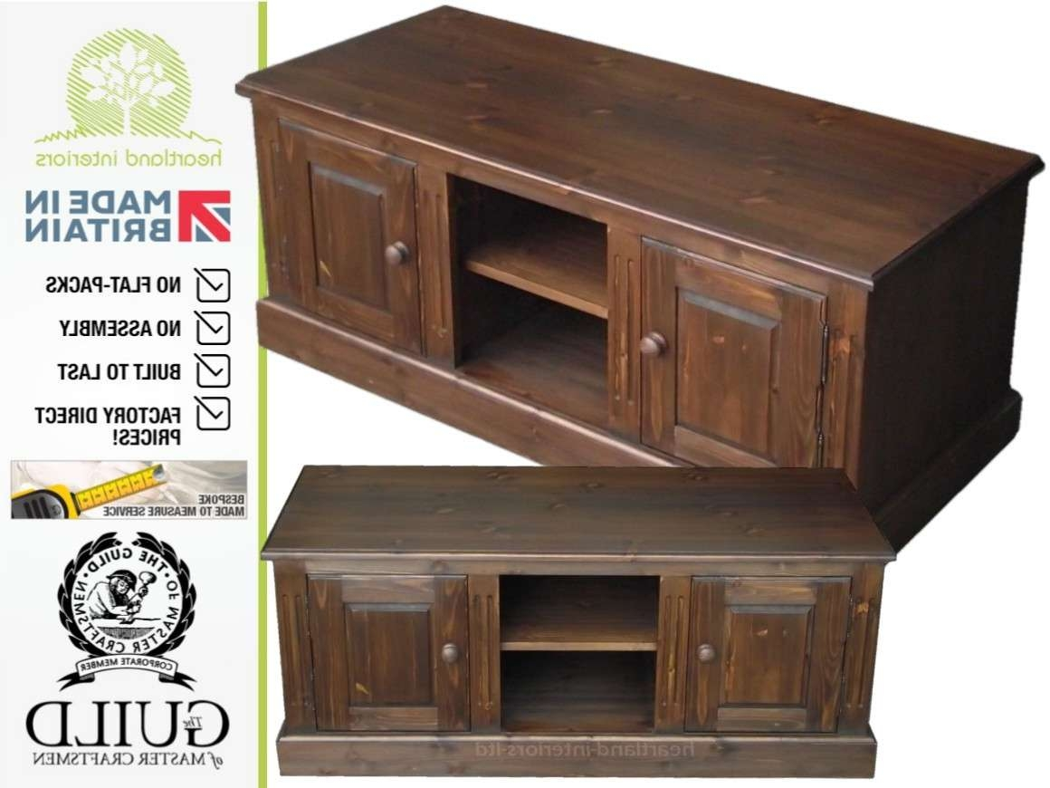 Traditional Solid Pine Tv Stand Multimedia Storage Unit Within Pine Tv Stands (View 11 of 20)
