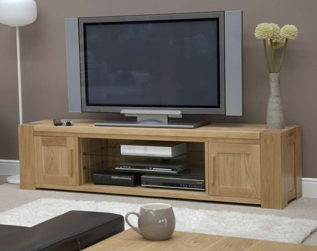 Trend Solid Oak Large Plasma/tv Unit | Oak Furniture Uk Regarding Long Oak Tv Stands (View 3 of 20)