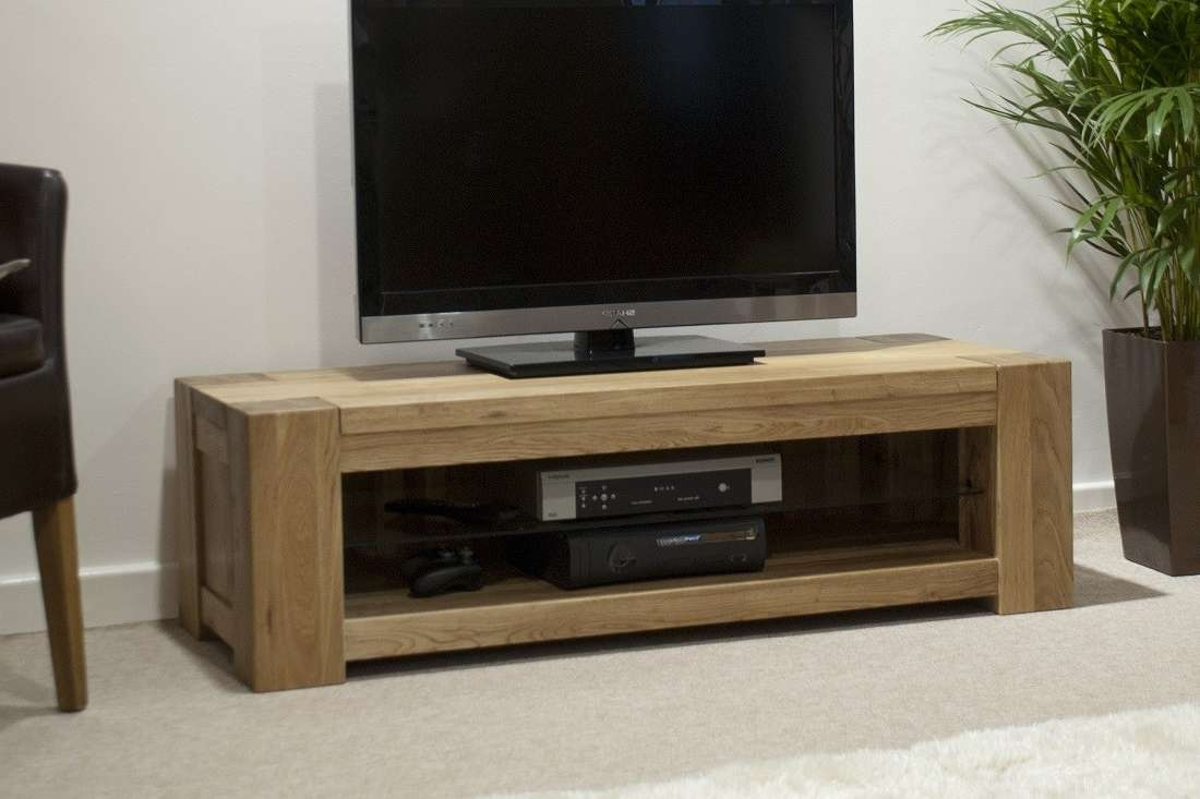 Trend Solid Oak Plasma/tv Unit | Oak Furniture Uk Throughout Wooden Tv Stands And Cabinets (View 5 of 15)