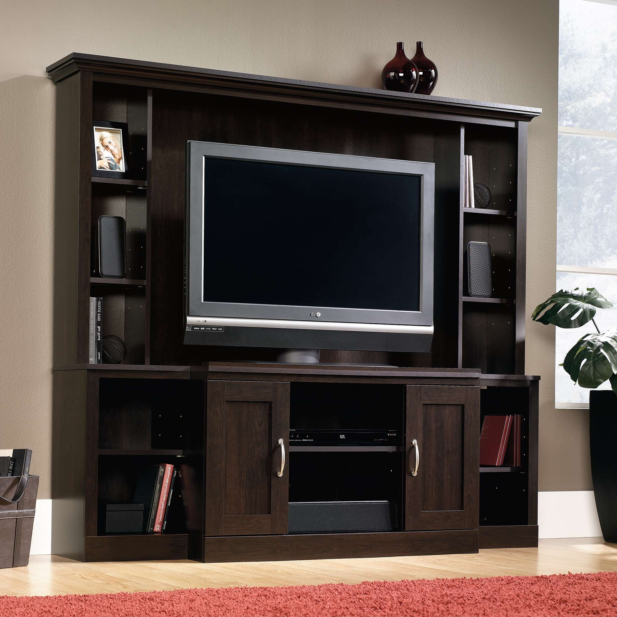Trendy Espresso Wood Entertainment Center With Flat Screen Tv Pertaining To Entertainment Center Tv Stands (View 10 of 15)