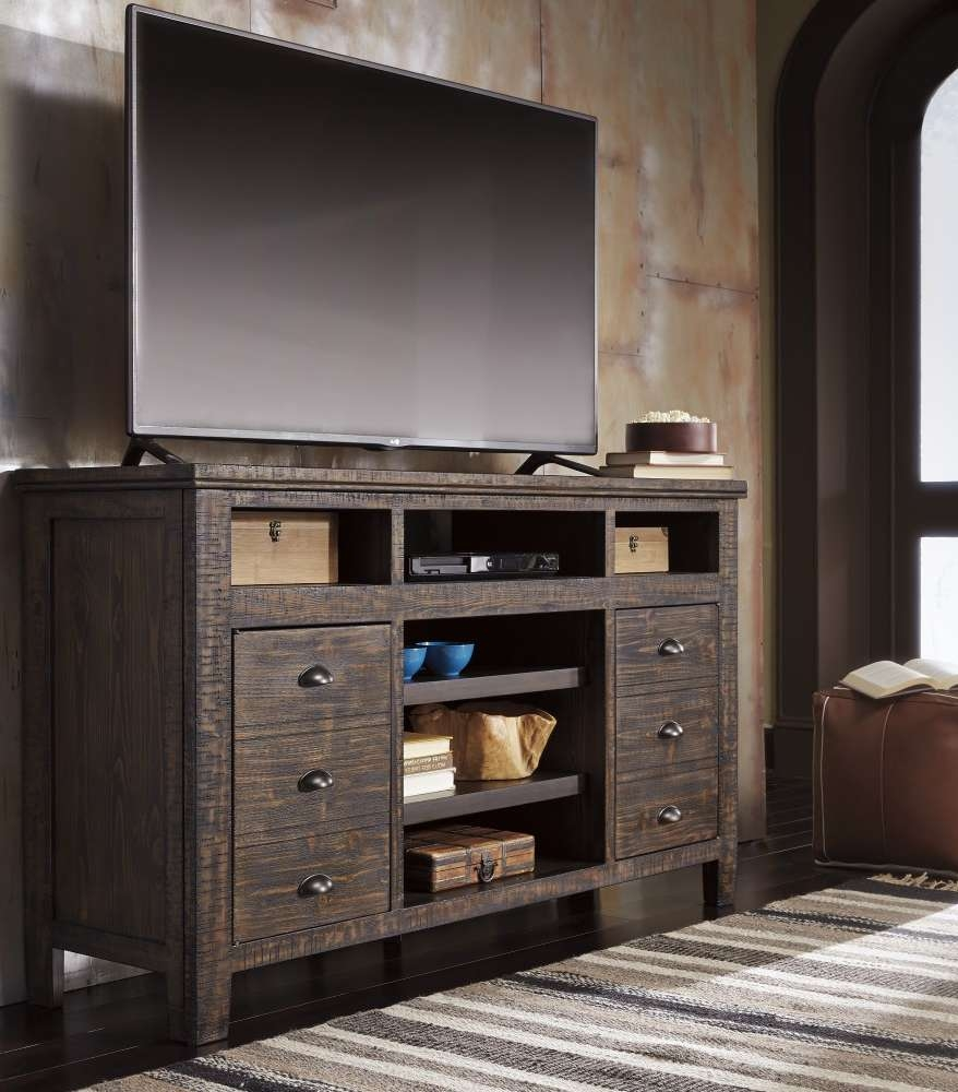 Trudell – Dark Brown – Xl Tv Stand W/frpl/audio Opt | W658 68 | Tv With Brown Tv Stands (View 3 of 20)