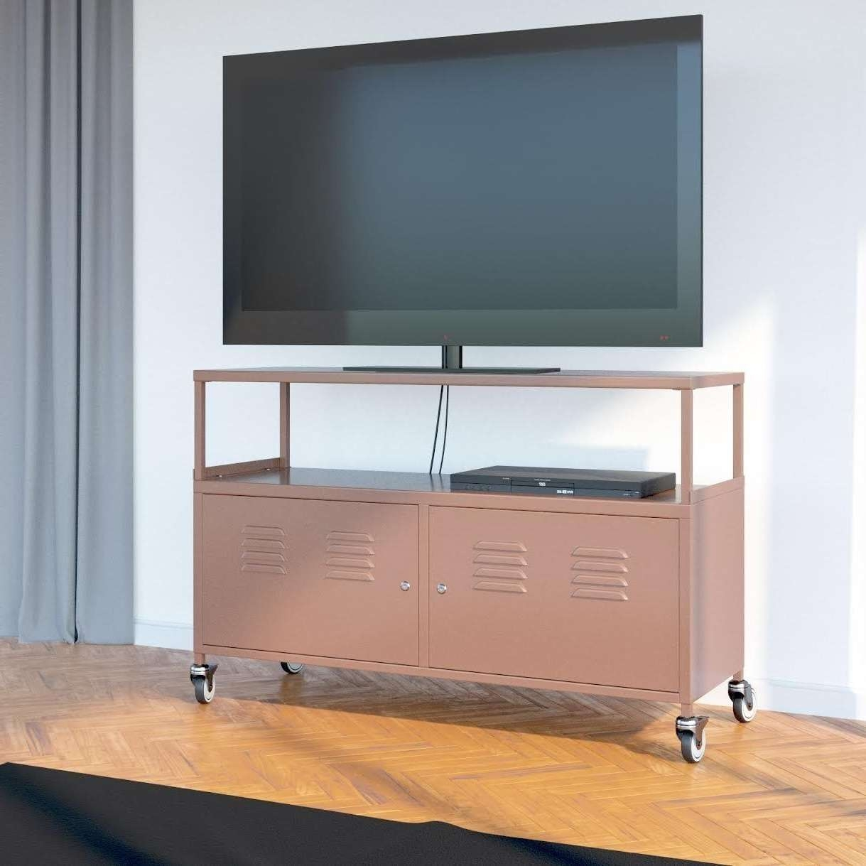 Tuscany Metal Lockable Tv Stand Cabinet Media Storage With Rolling Throughout Lockable Tv Stands (View 5 of 20)