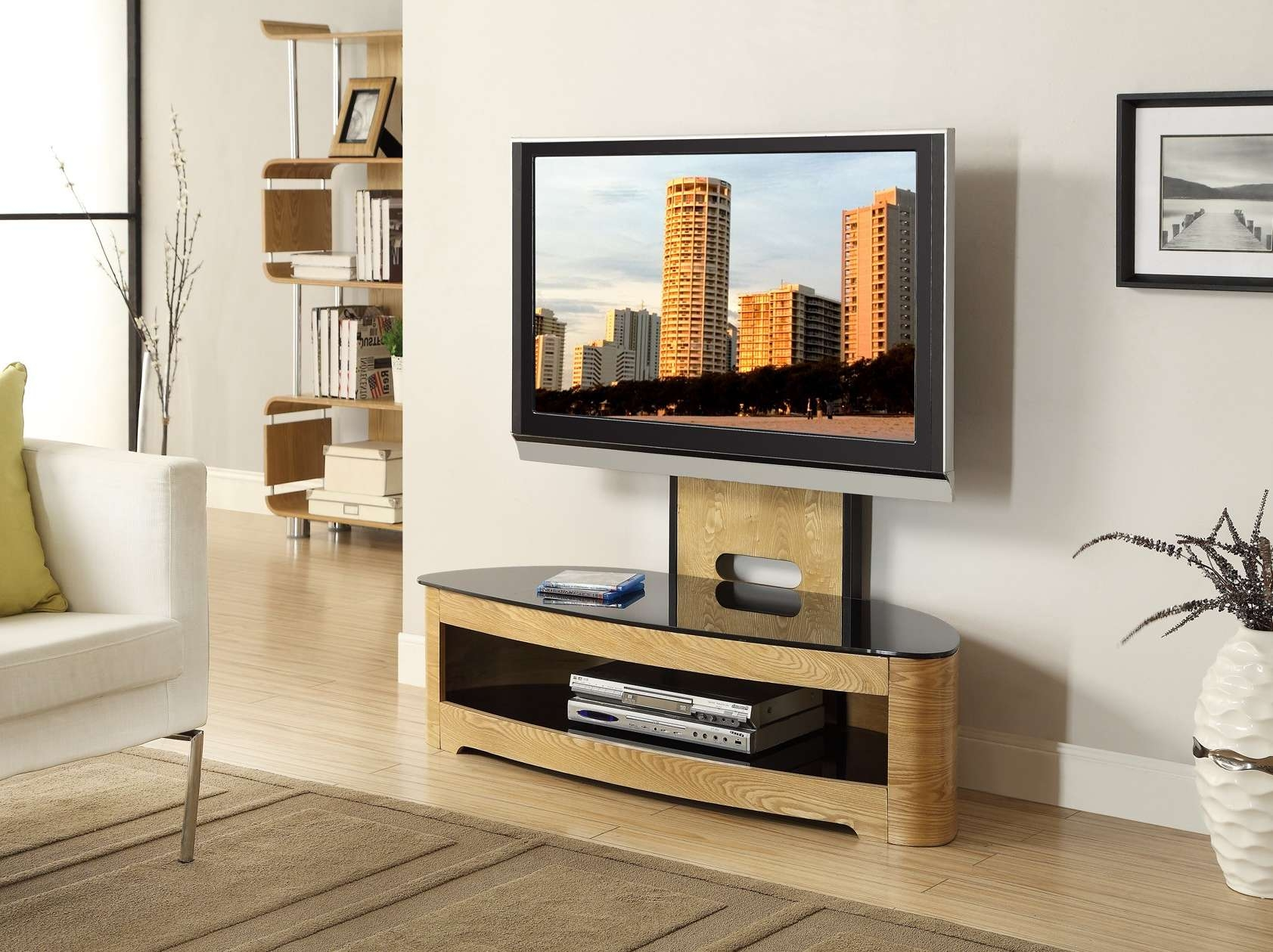 Tv : Astounding Oak Tv Stand With Glass Top Superior Oak Tv Stand Within Wood Tv Stands With Glass Top (View 11 of 15)