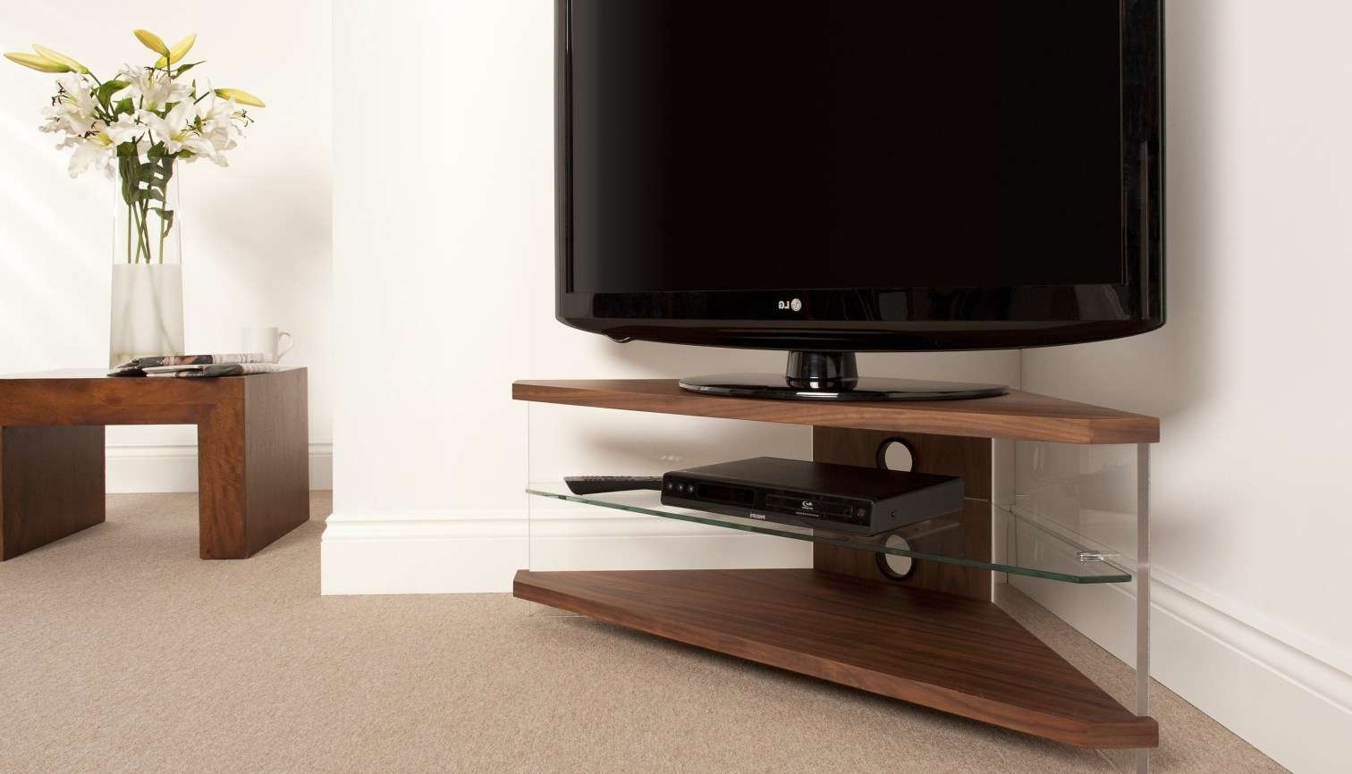 Tv : Enjoy Tv Shows Movies Adopting 12 Small White Tv Stand Ideas Throughout L Shaped Tv Stands (View 14 of 15)