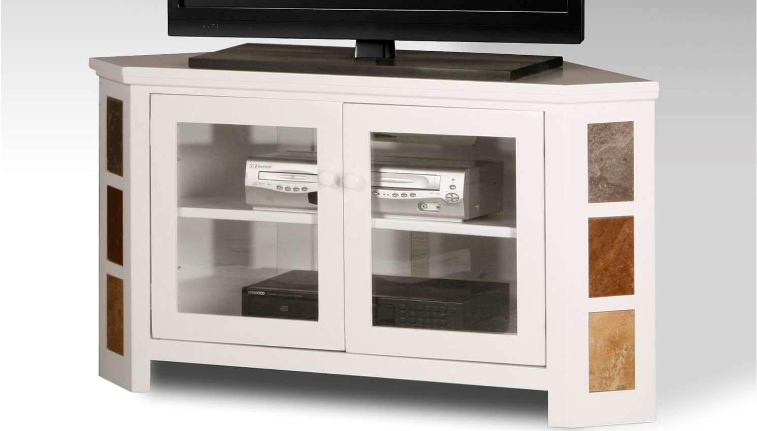Tv : Gratify Tv Cabinets With Glass Doors Uk Unforeseen Black Regarding  Black Corner Tv Cabinets