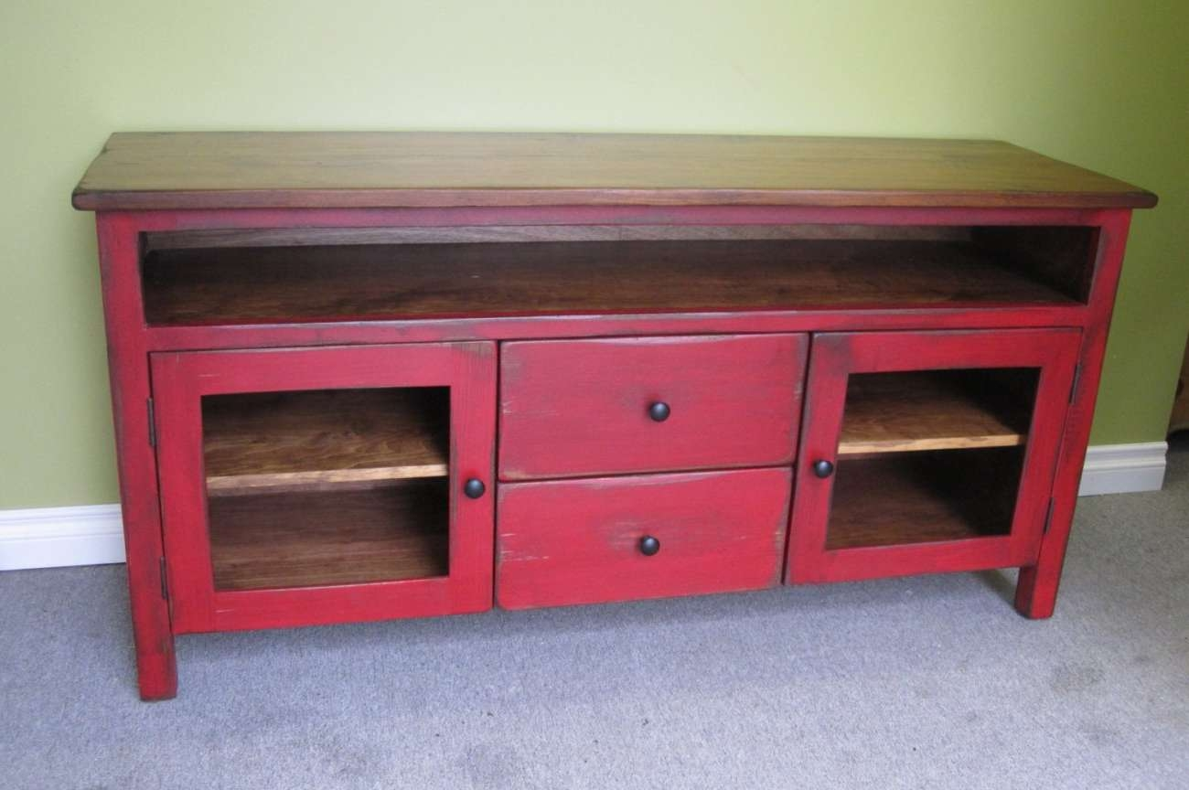 Tv : Red Entertainment Center Beautiful Rustic Red Tv Stands Tv With Red Tv Stands (View 11 of 15)