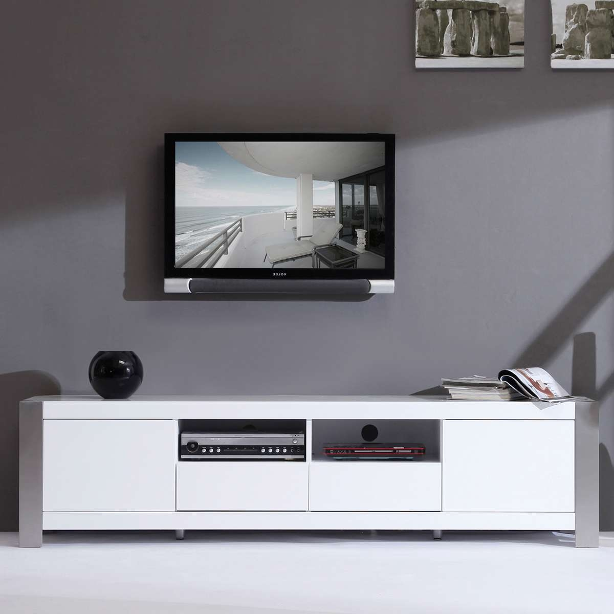 Tv : Roma Black Swivel High Gloss Tv Stand Modern Tv Stands With Regard To Large White Tv Stands (View 3 of 15)