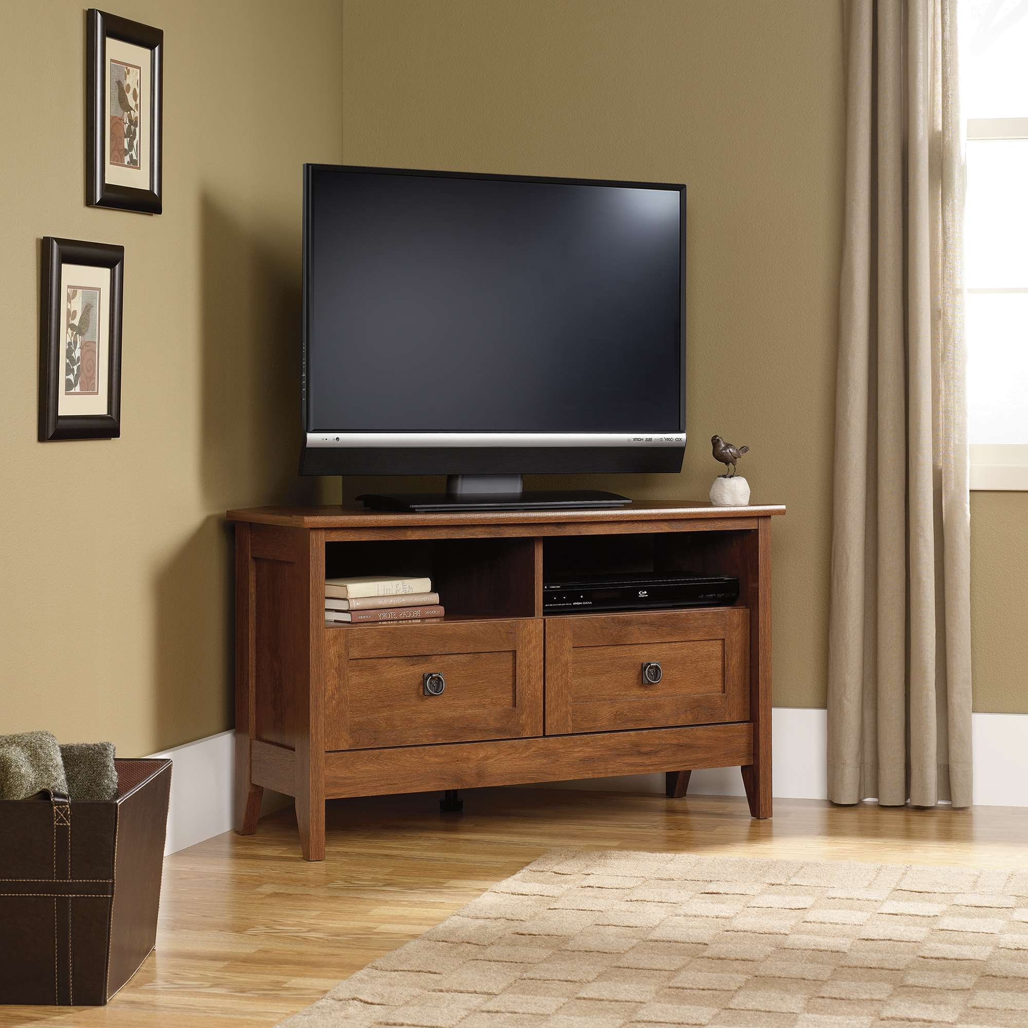 Tv Stand : Black Corner Fireplace Tv Stand Natural Wood Standtv With Regard To Flat Screen Tv Stands Corner Units (View 8 of 20)
