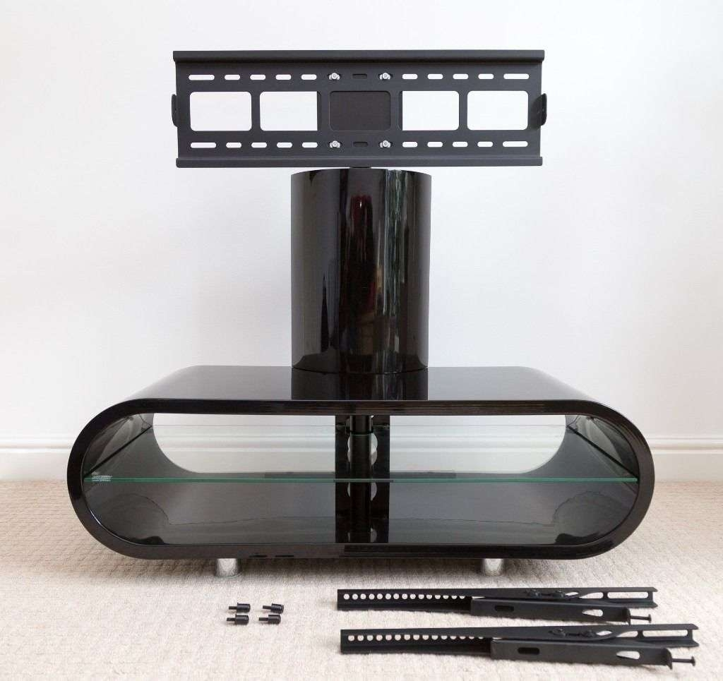 Tv Stand (black Gloss) With Integrated Screen Mount – Techlink Intended For Ovid Tv Stands Black (View 2 of 20)