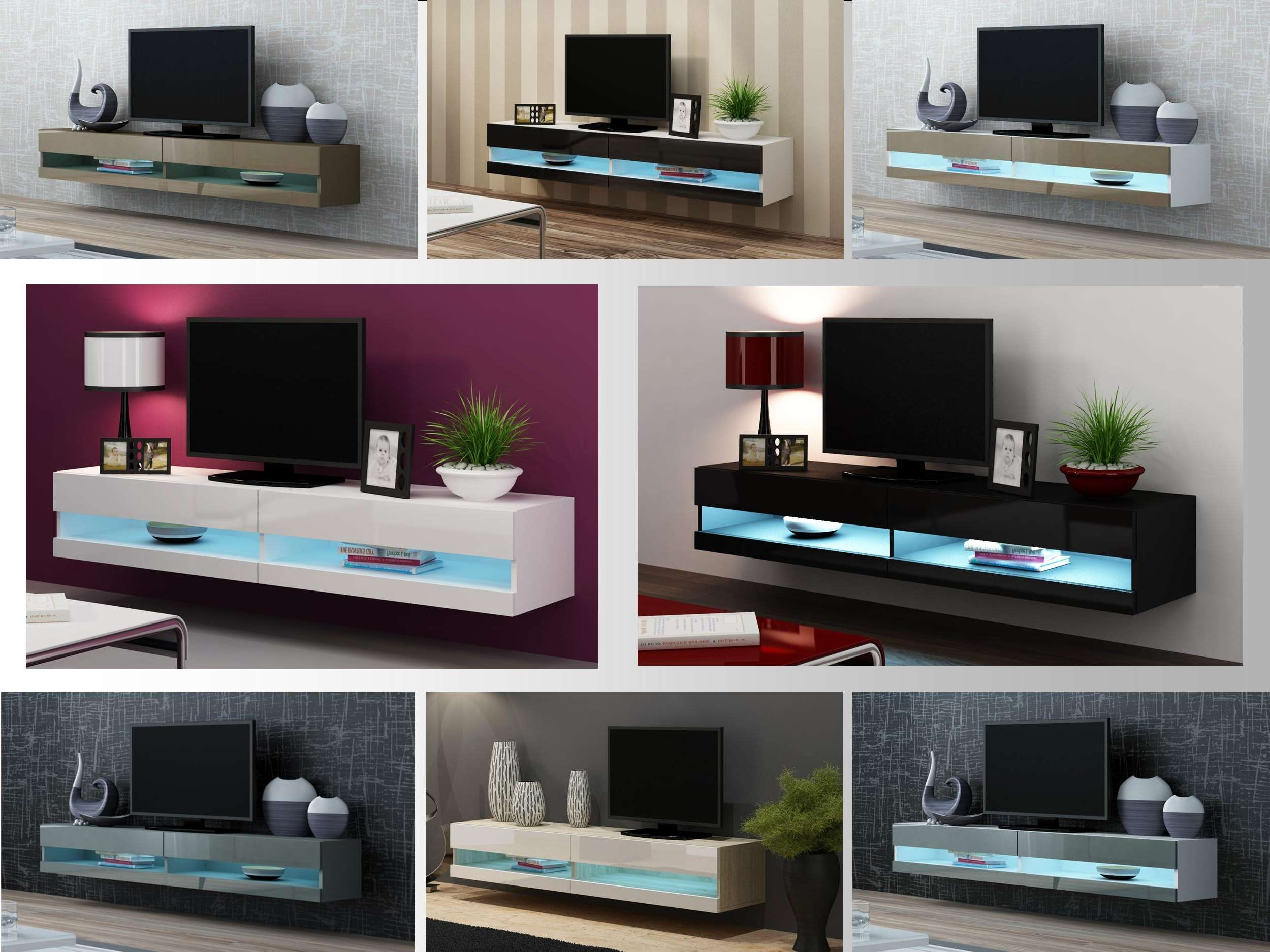 Tv Stand Cabinet With Led Lights High Gloss | Entertainment Intended For Floating Glass Tv Stands (View 10 of 15)
