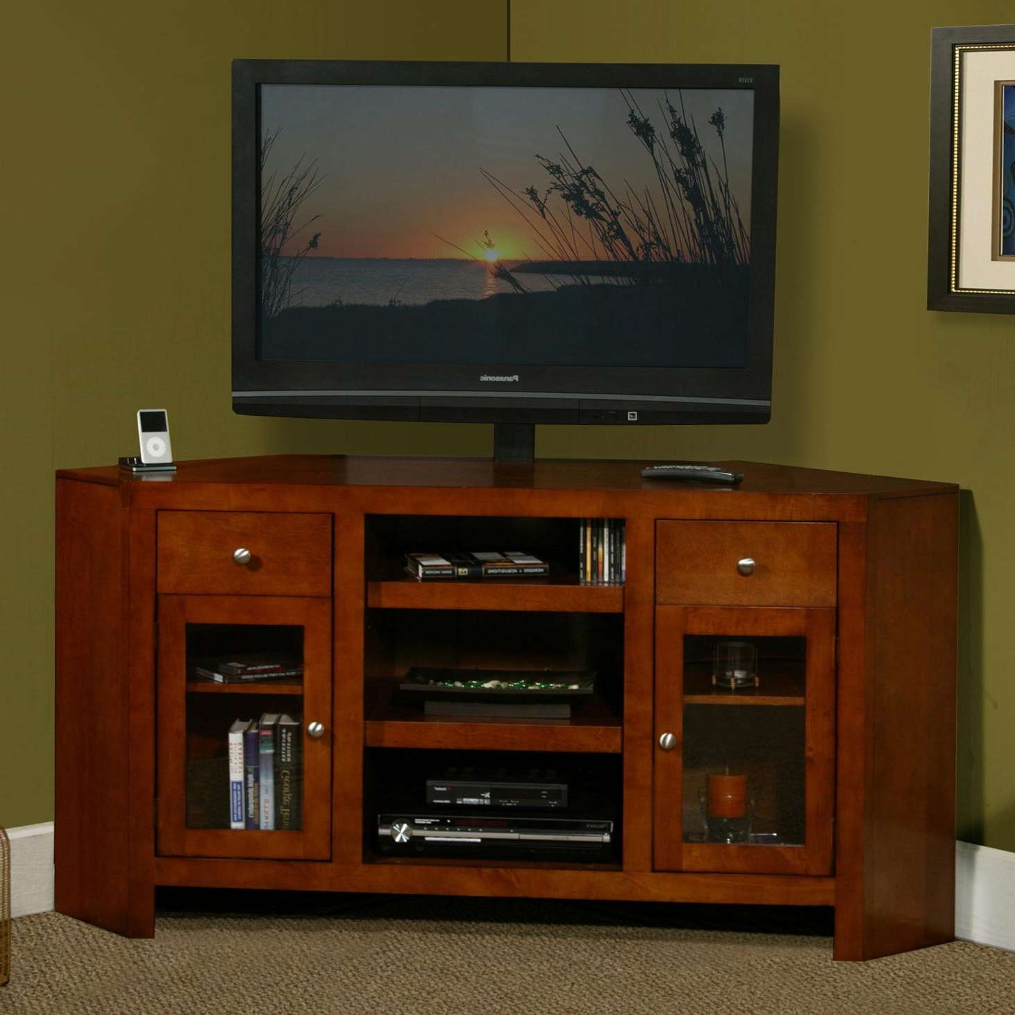 Tv Stand : Corner Tv Stand Crosley Furniture For Tvs Up To Pertaining To 55 Inch Corner Tv Stands (View 7 of 20)