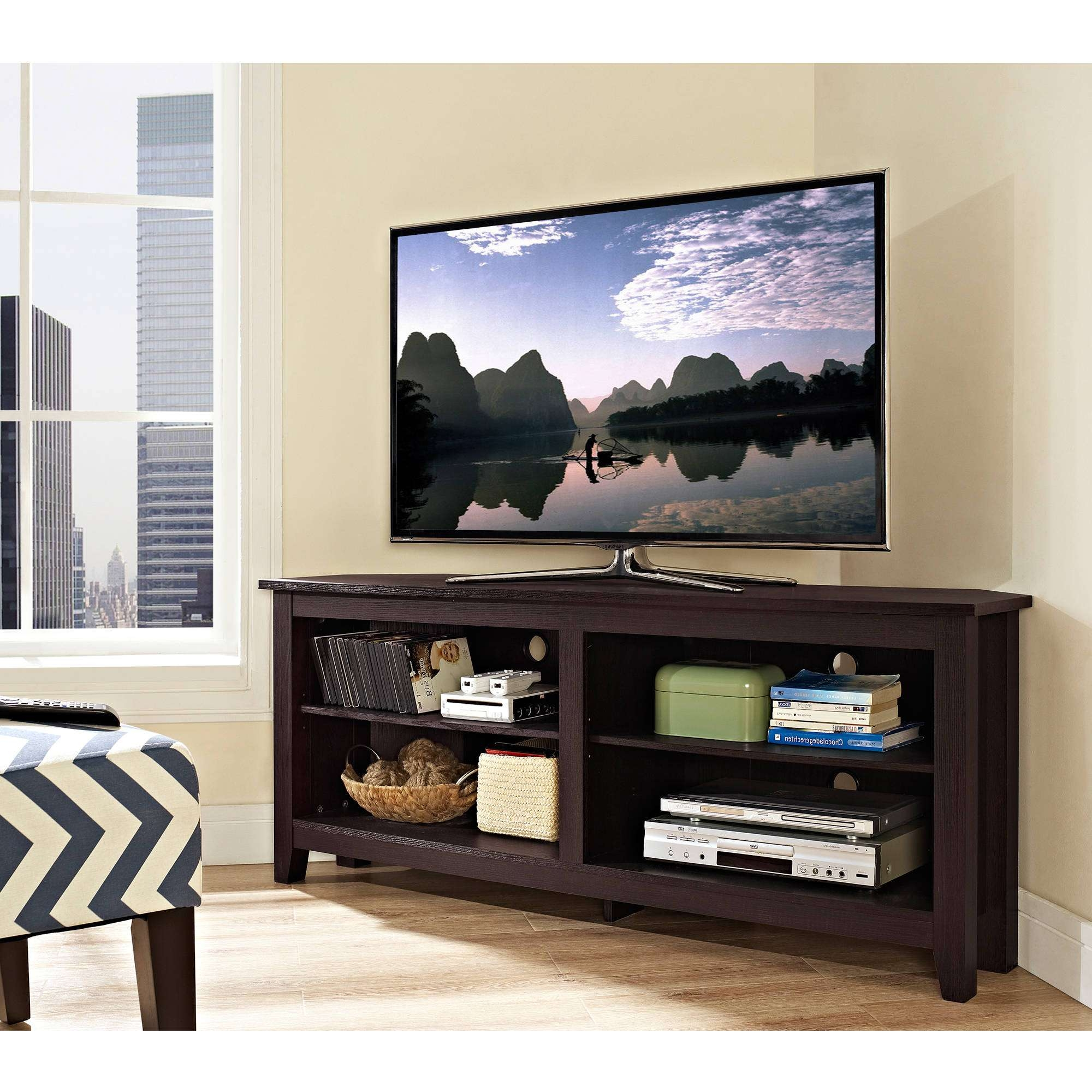 Tv Stand : Corner Tv Stand Wood Cherry Haydenwoodhaven Throughout Black Corner Tv Stands For Tvs Up To (View 3 of 20)