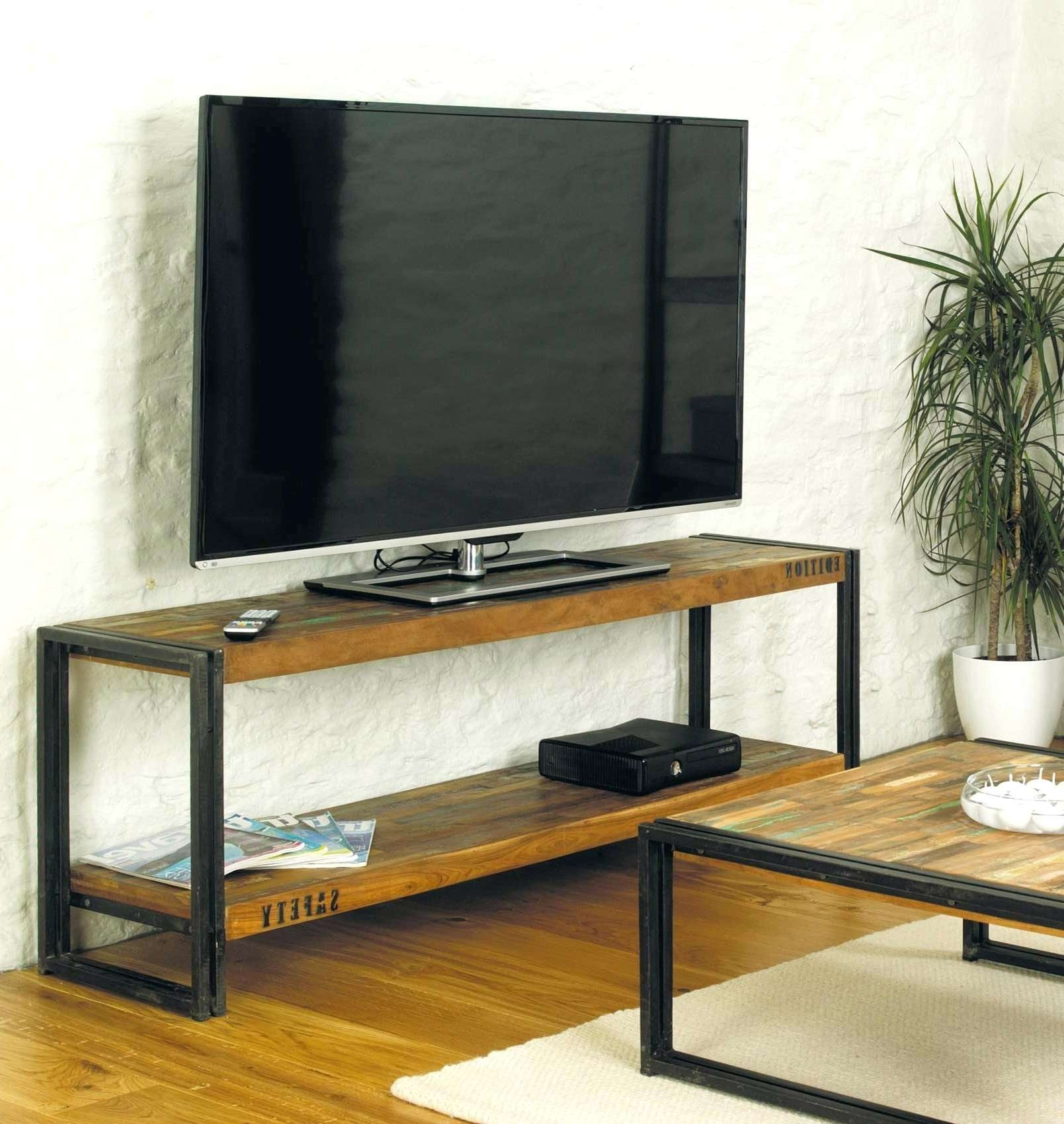 Tv Stand Cover Rustic Industrial Reclaimed Wood Iron Metal Console Throughout Reclaimed Wood And Metal Tv Stands (View 11 of 20)