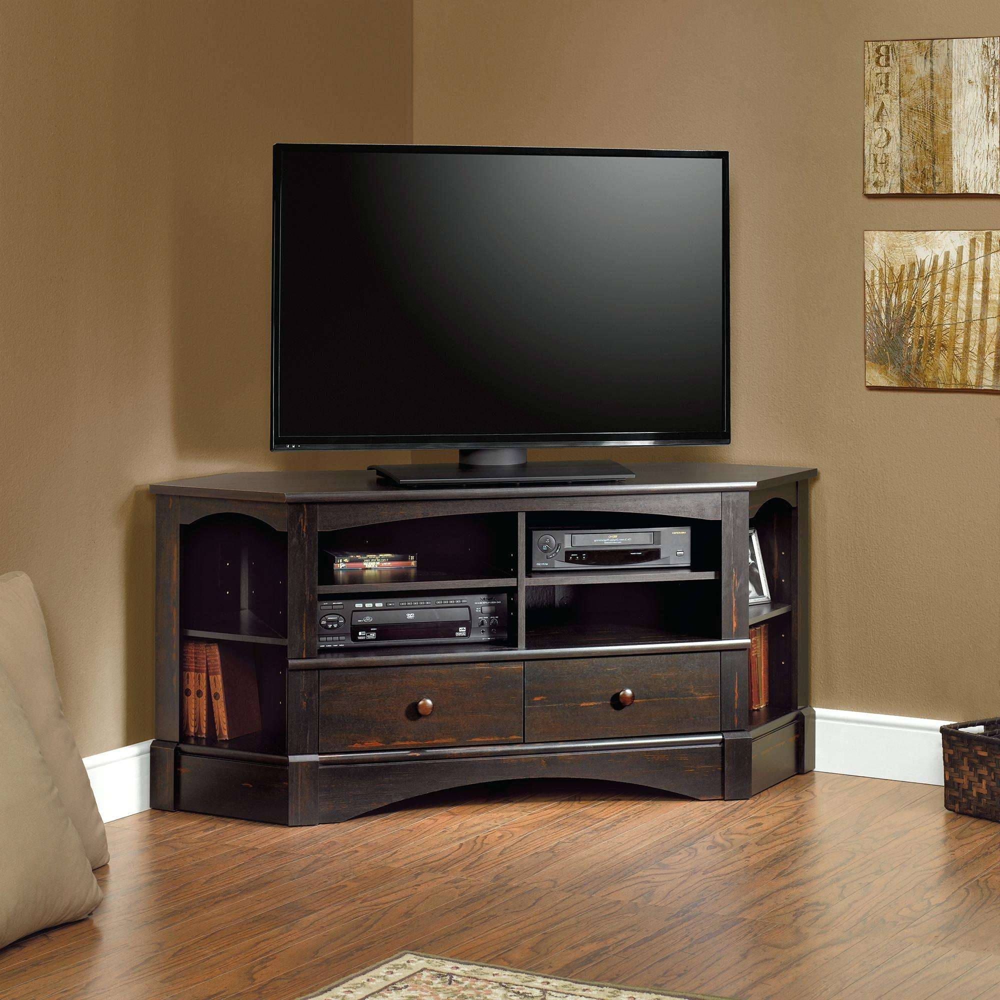 Tv Stand : Dark Wood Tv Stand With Shelf Retro Design Solid Corner For Dark Wood Tv Stands (View 14 of 20)