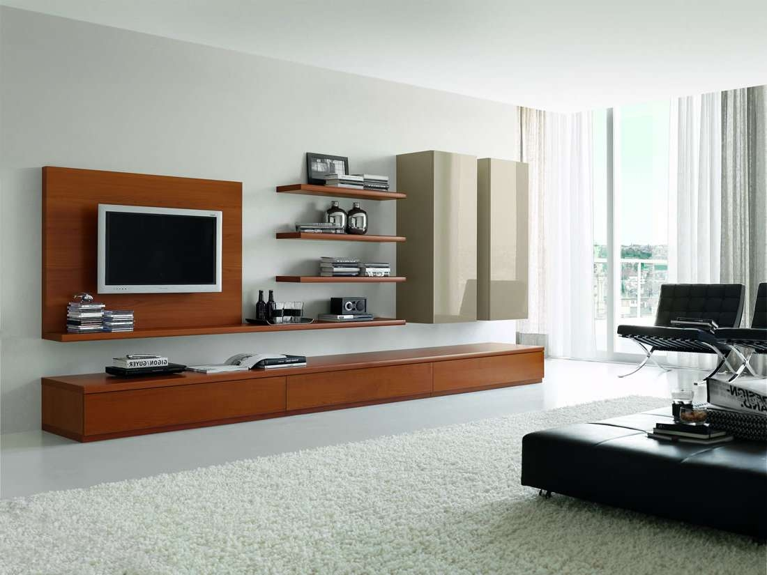 Tv Stand Designs In Plywood Furniture Modern Brown Polished Wooden Intended For Modern Wall Mount Tv Stands (View 17 of 20)