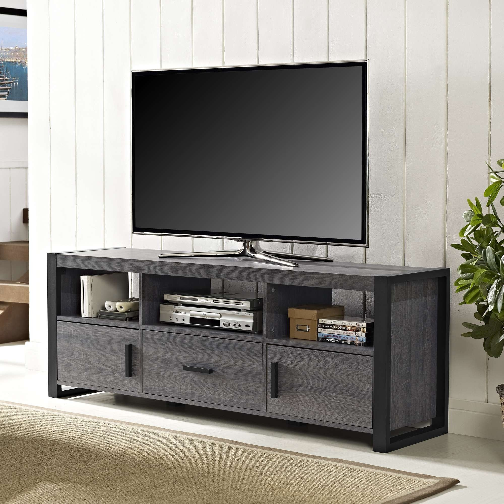 Tv Stand For Inch Flat Screen Media Console Walmart With Doors And For Dark Tv Stands (View 14 of 15)