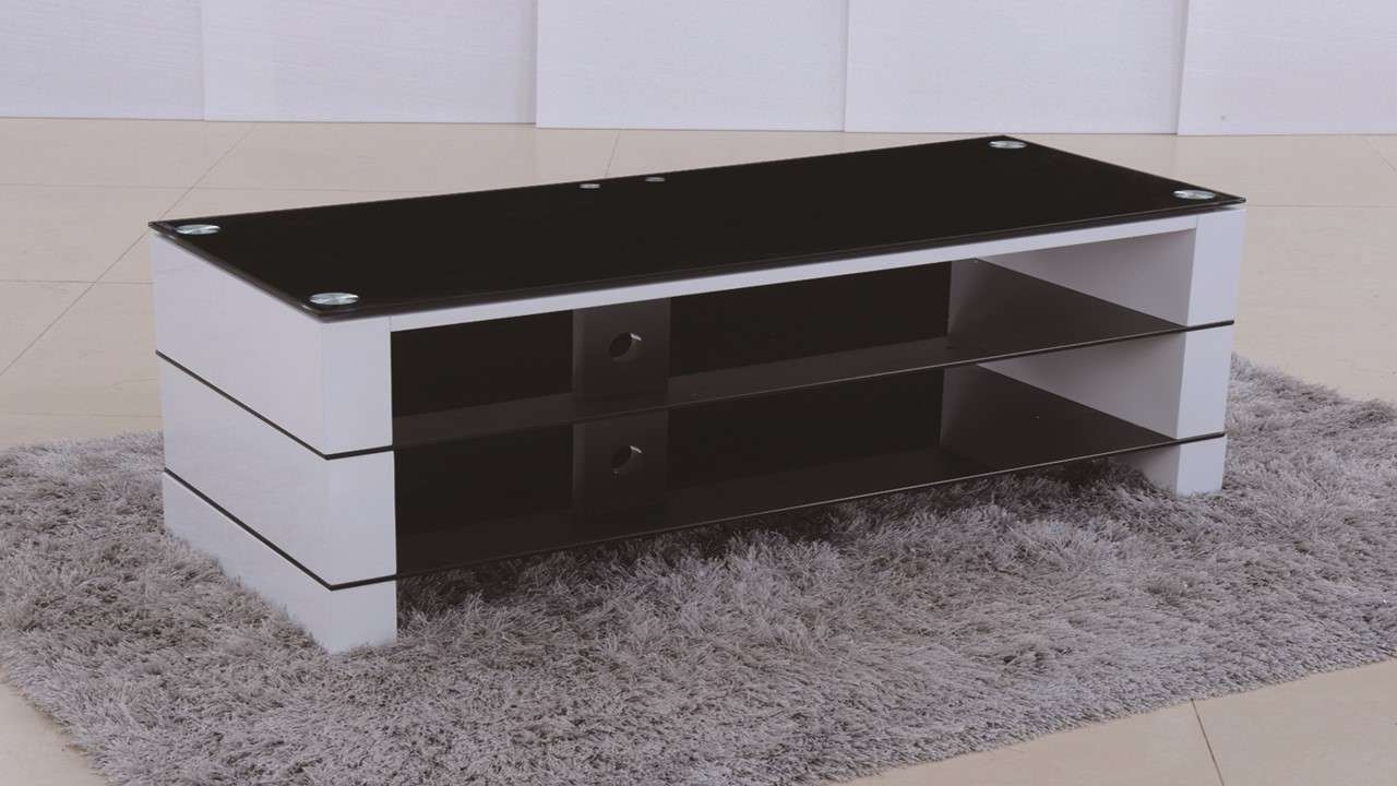 Tv Stand In White High Gloss Black Glass – Homegenies Regarding Tv Stands Black Gloss (View 3 of 15)