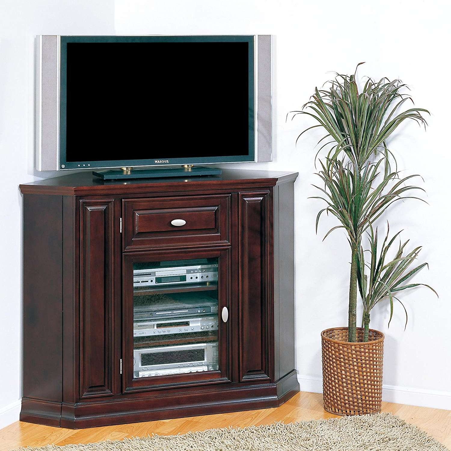 Tv Stand : Literarywondrous Tv Stand Corner Photos Inspirations In Tall Tv Cabinets Corner Unit (View 2 of 20)