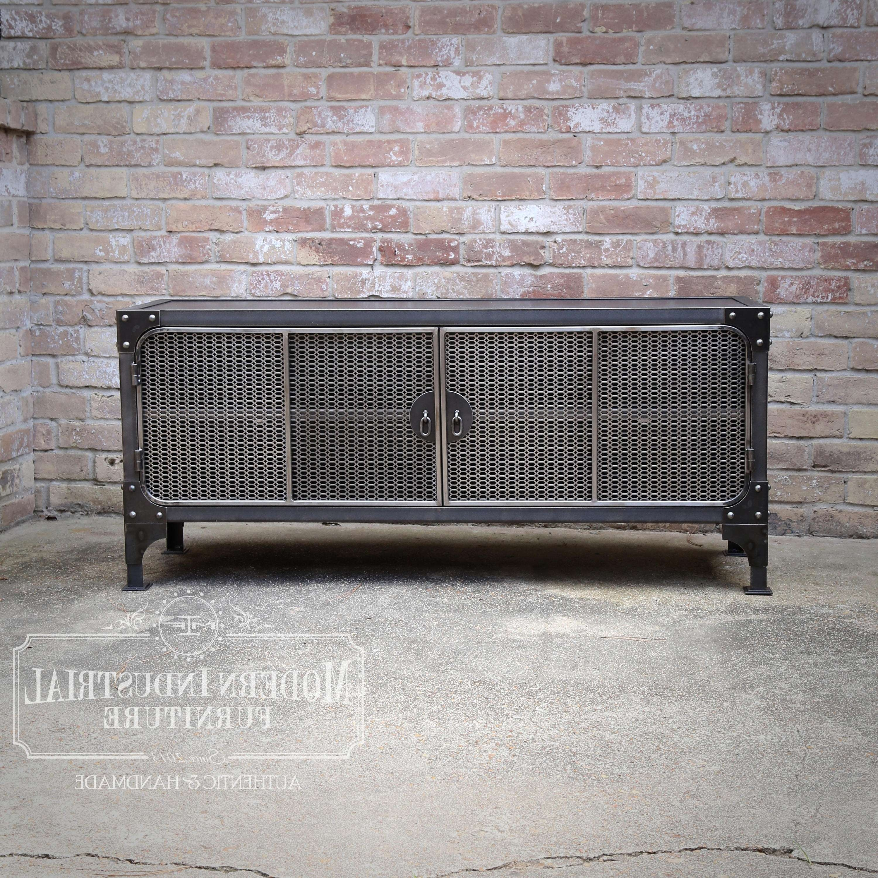 Tv Stand Media Console Cabinet Vintage Industrial Modern For Industrial Metal Tv Stands (View 12 of 15)
