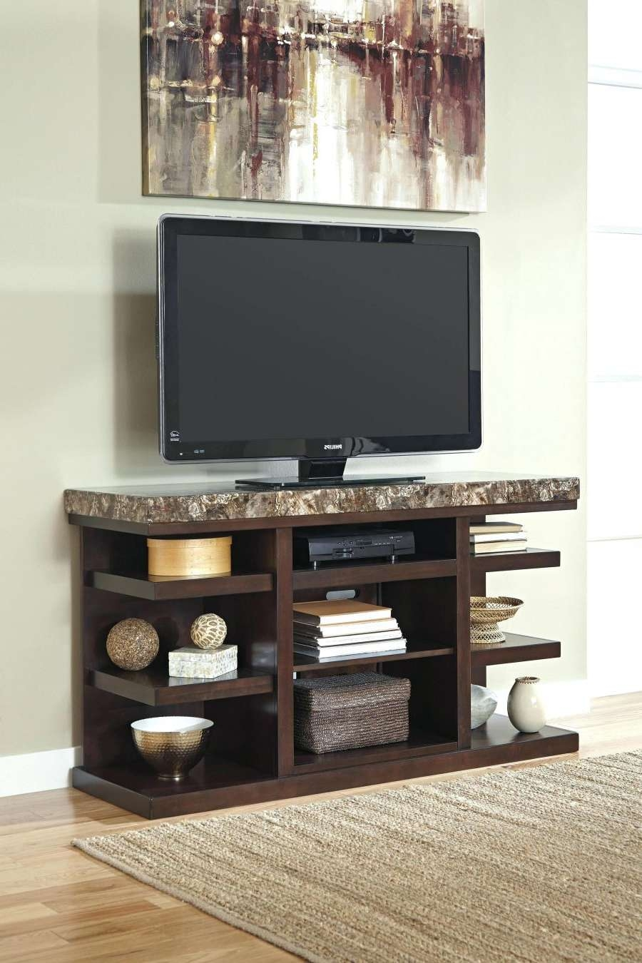 Tv Stand : Open Tv Stand Contemporary Large With Stone Look Top With Regard To Open Shelf Tv Stands (View 13 of 15)