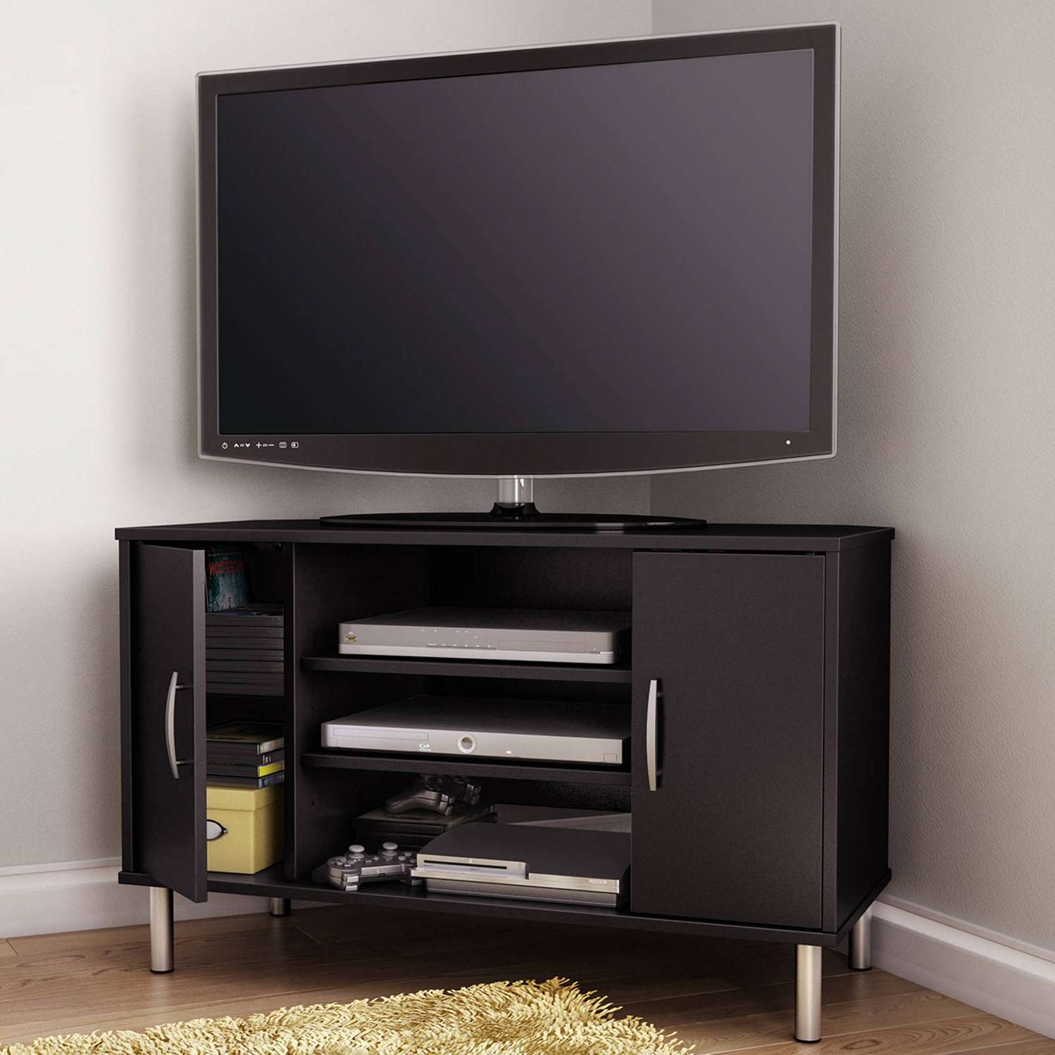Tv Stand : Stirring Corner Tv Stand For Inch Photo Concept Flat Throughout Grey Corner Tv Stands (View 11 of 15)