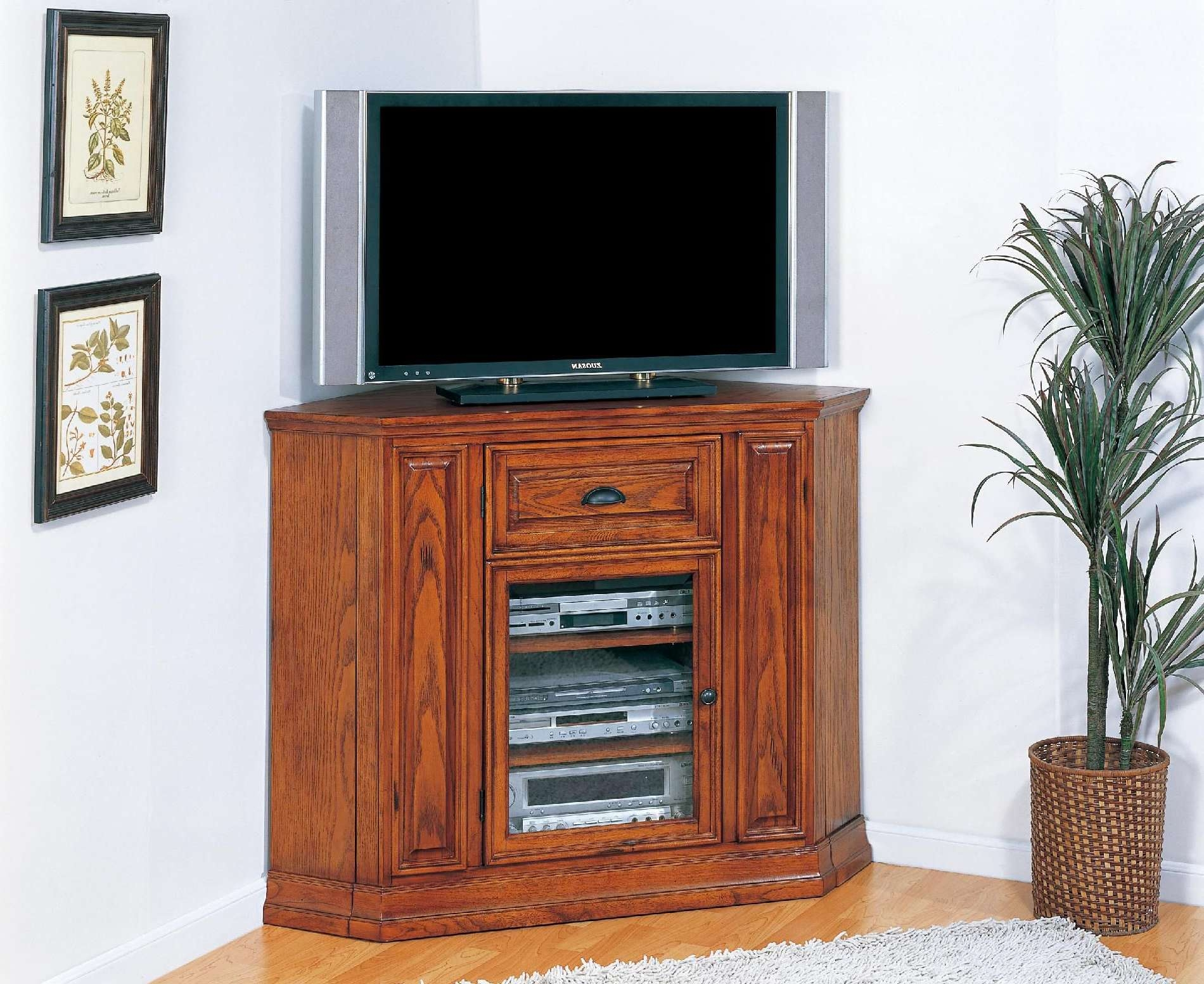 Tv Stand : Tall Narrow Tv Stands For Flat Screens And Standstall Within Corner Oak Tv Stands For Flat Screen (View 13 of 15)