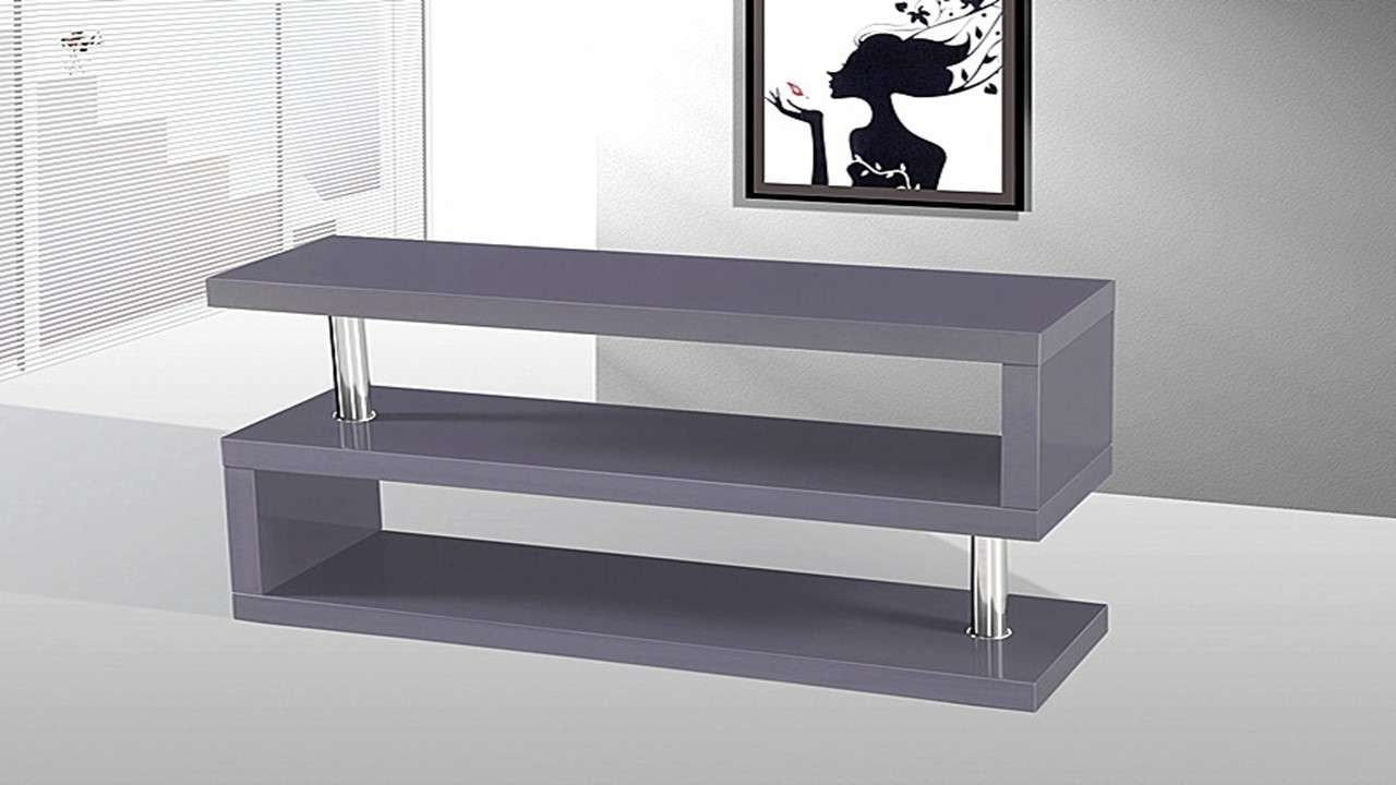 Tv Stand Unit In Grey High Gloss – Homegenies For Gloss Tv Stands (View 4 of 15)