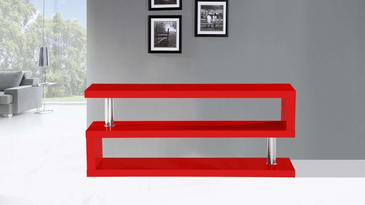 Tv Stand Unit In Red High Gloss – Homegenies Pertaining To Red Tv Stands (View 2 of 15)